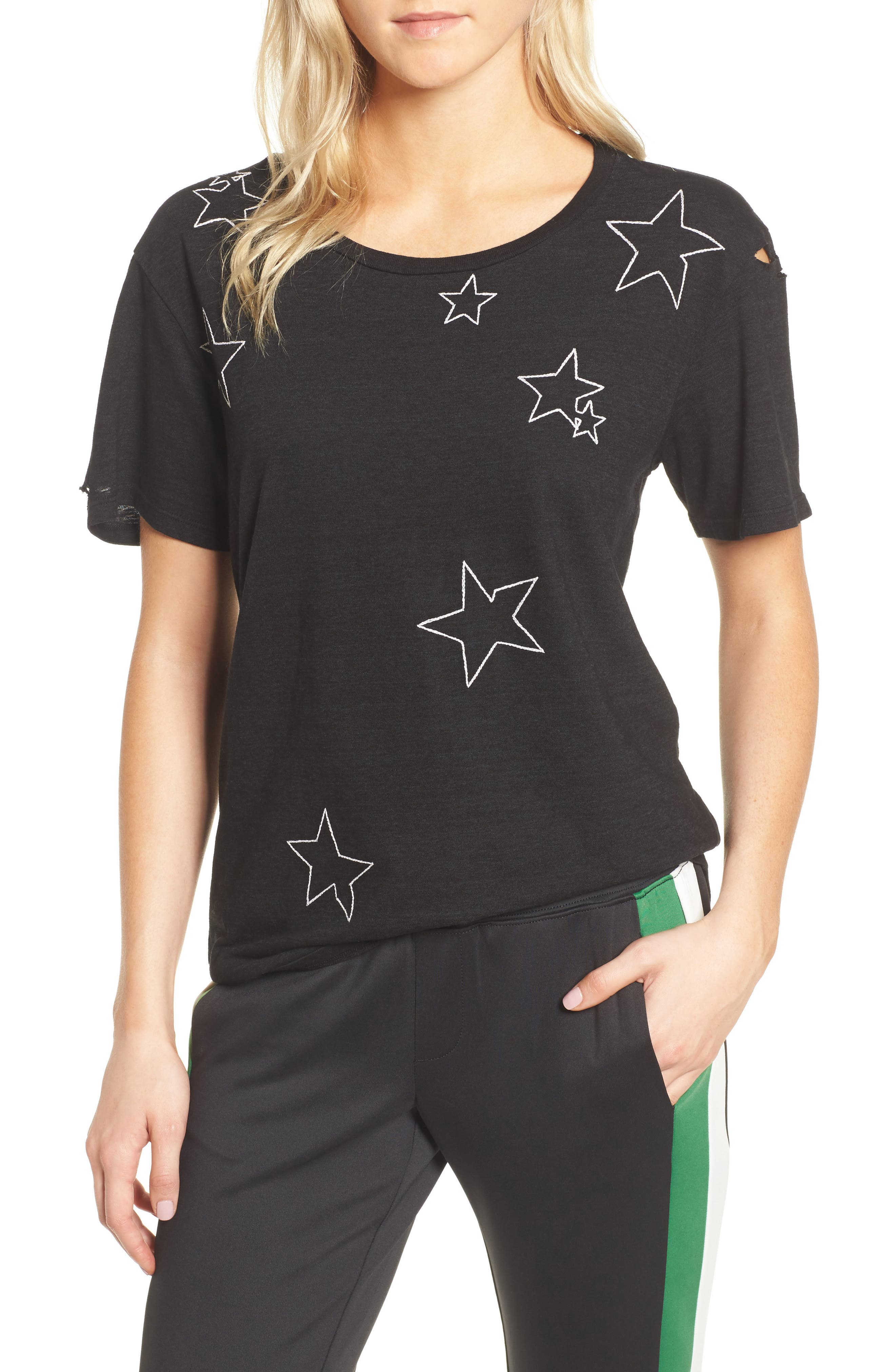 Destroyed Star Embroidered Tee,                         Main,                         color, Black
