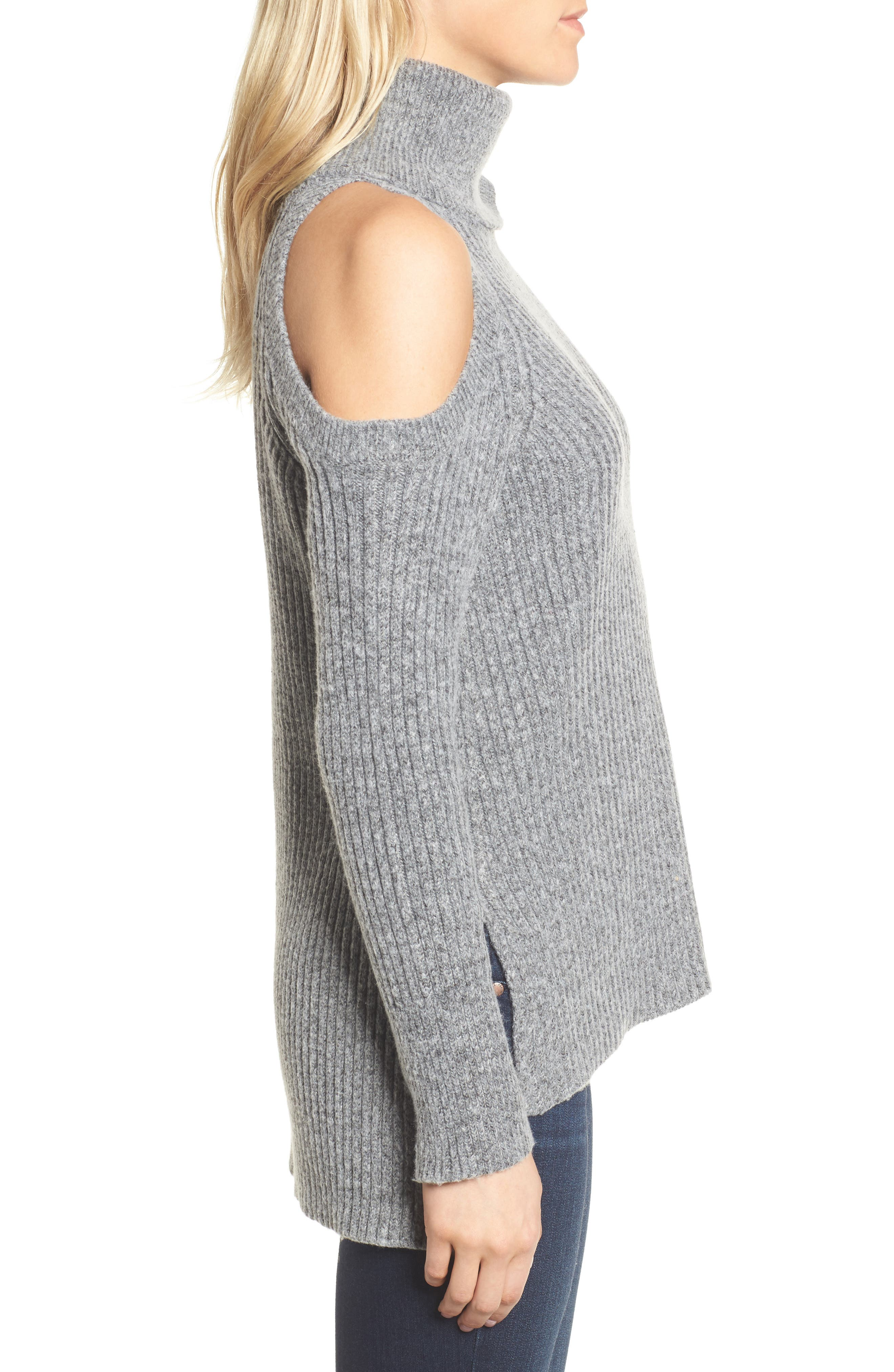 Rodell Cold Shoulder Sweater,                             Alternate thumbnail 3, color,                             Medium Heather Grey