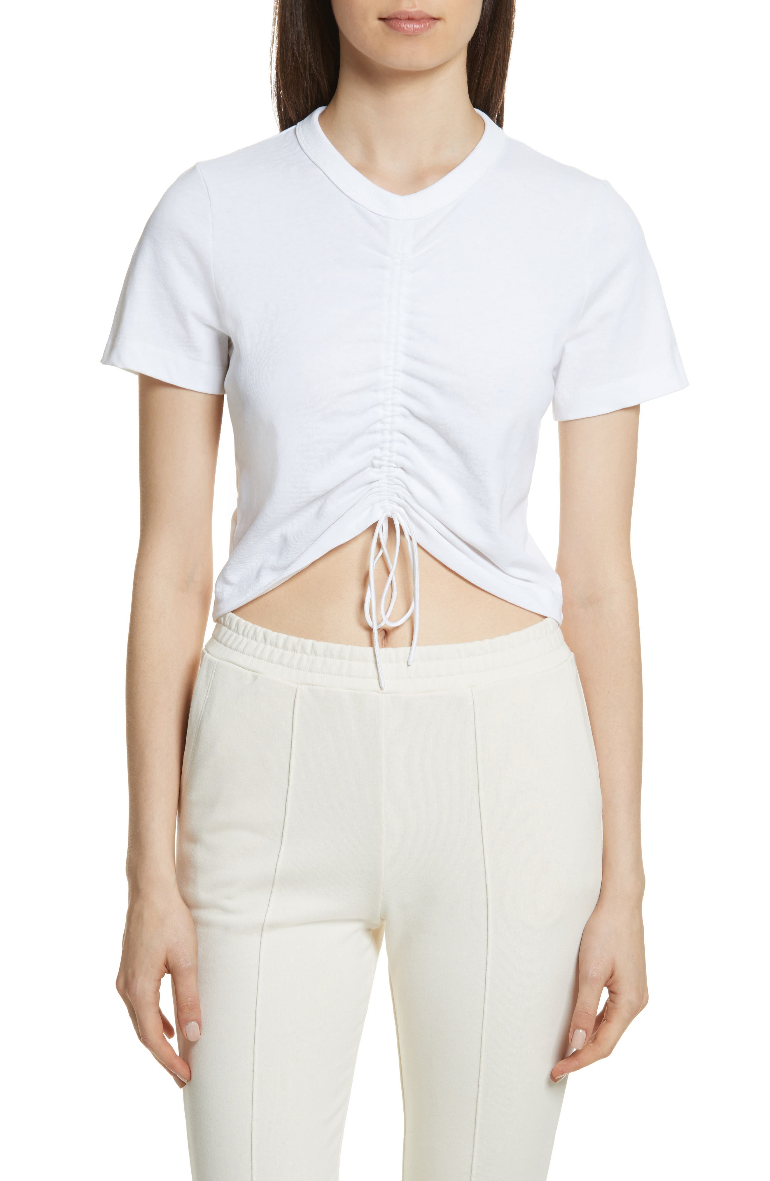 Ruched Cotton Tee,                         Main,                         color, White