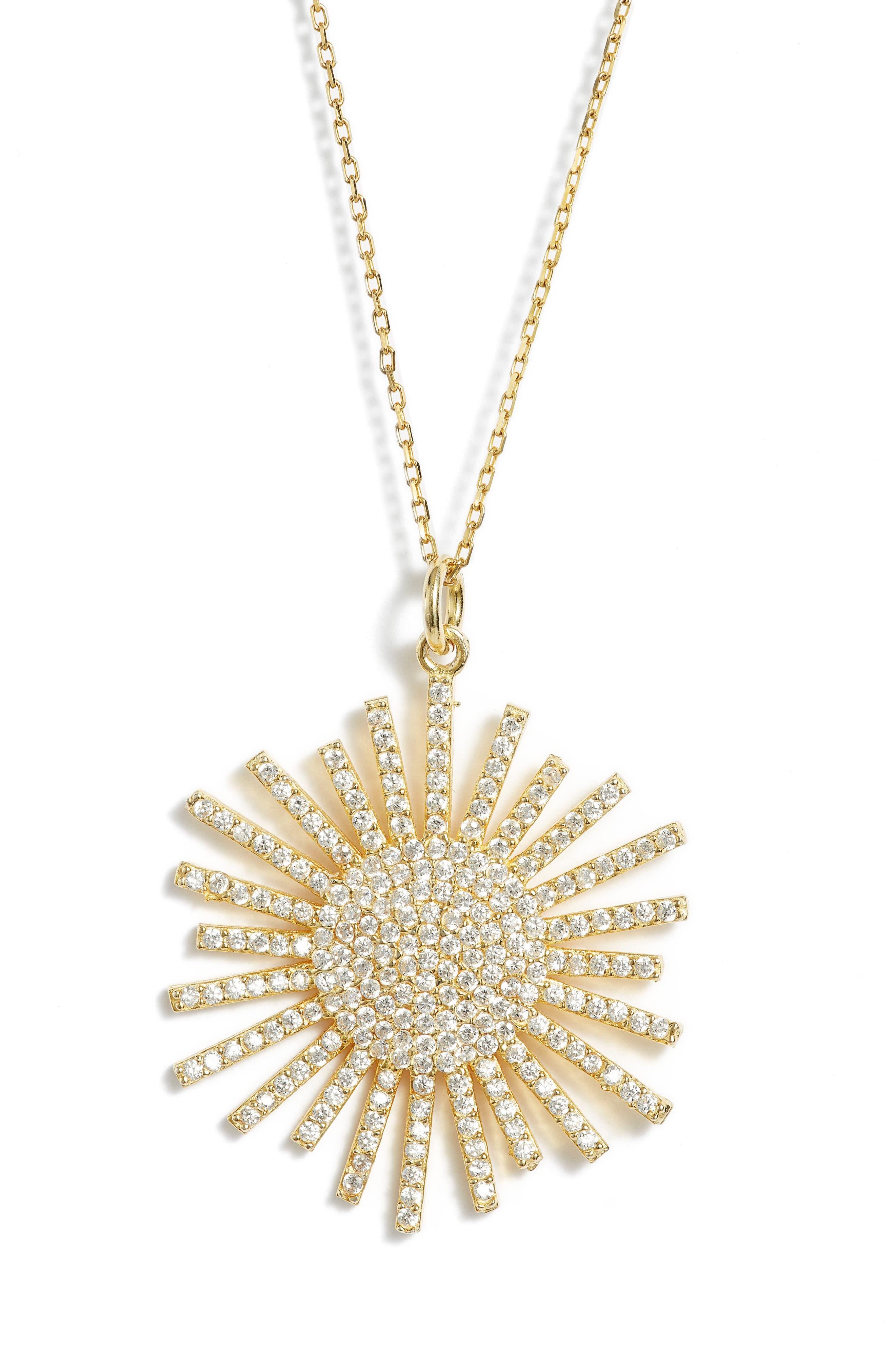 Crystal Starburst Necklace,                         Main,                         color, Gold