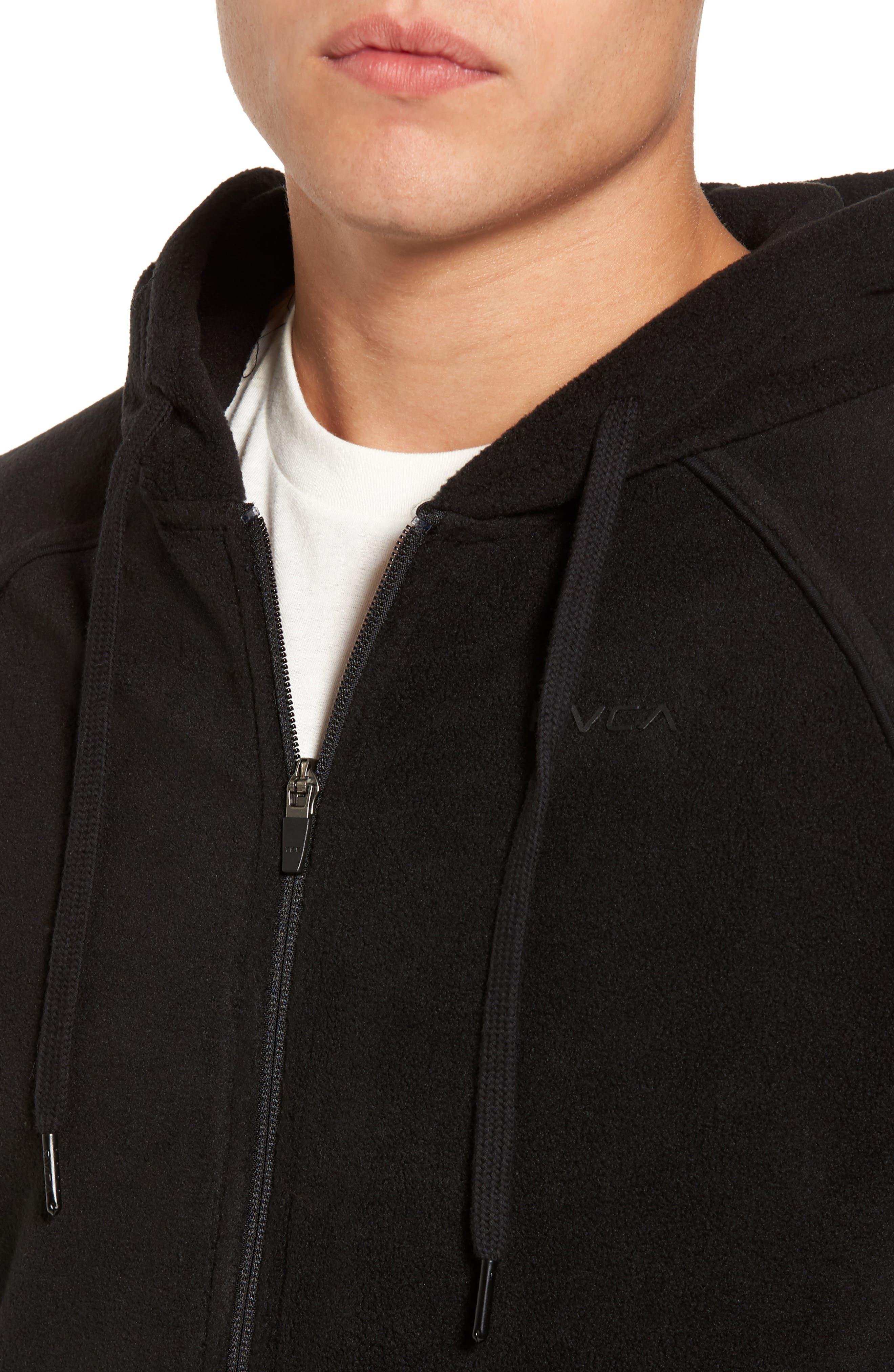 Slider Zip Through Fleece Hoodie,                             Alternate thumbnail 4, color,                             Black