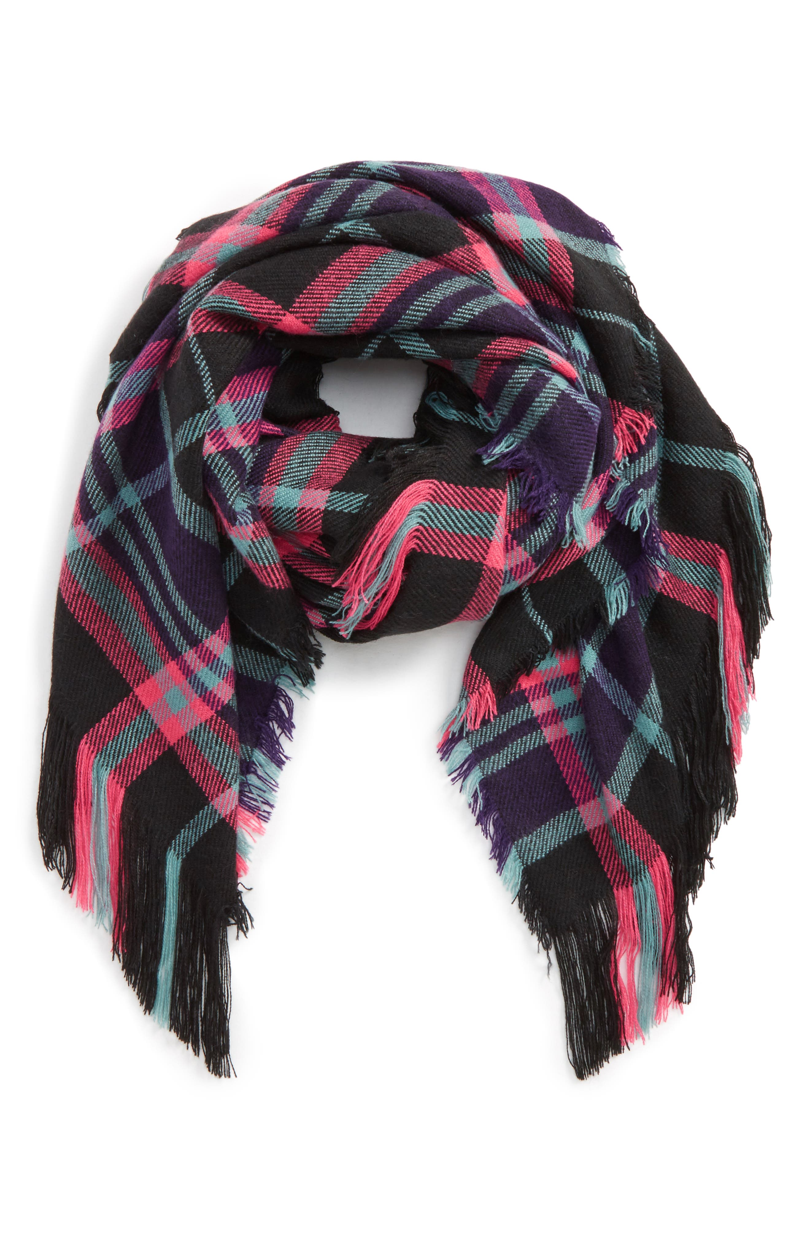 David & Young Fringe Trim Plaid Scarf