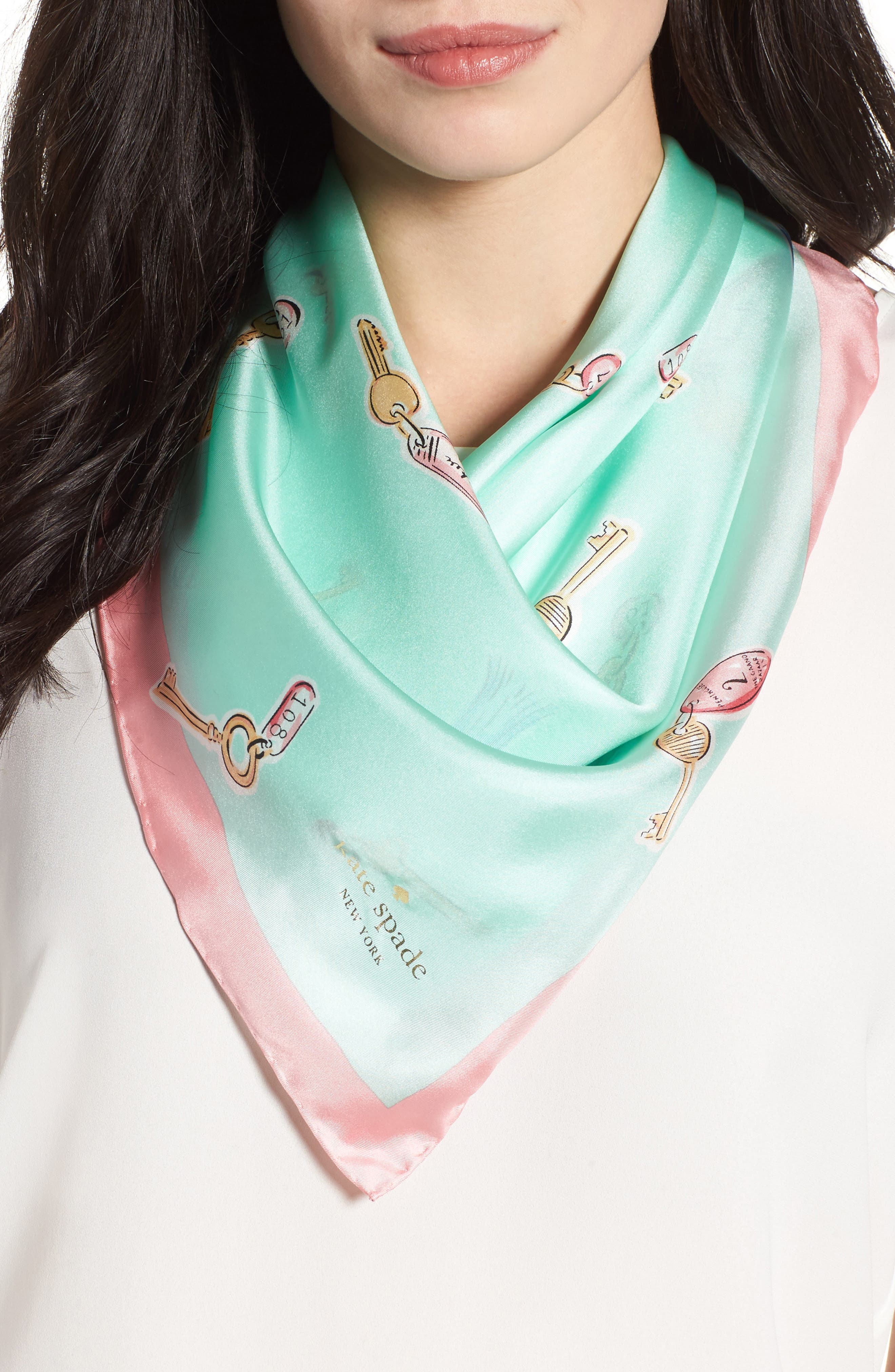 tossed keys silk scarf,                             Main thumbnail 1, color,                             Seaglass