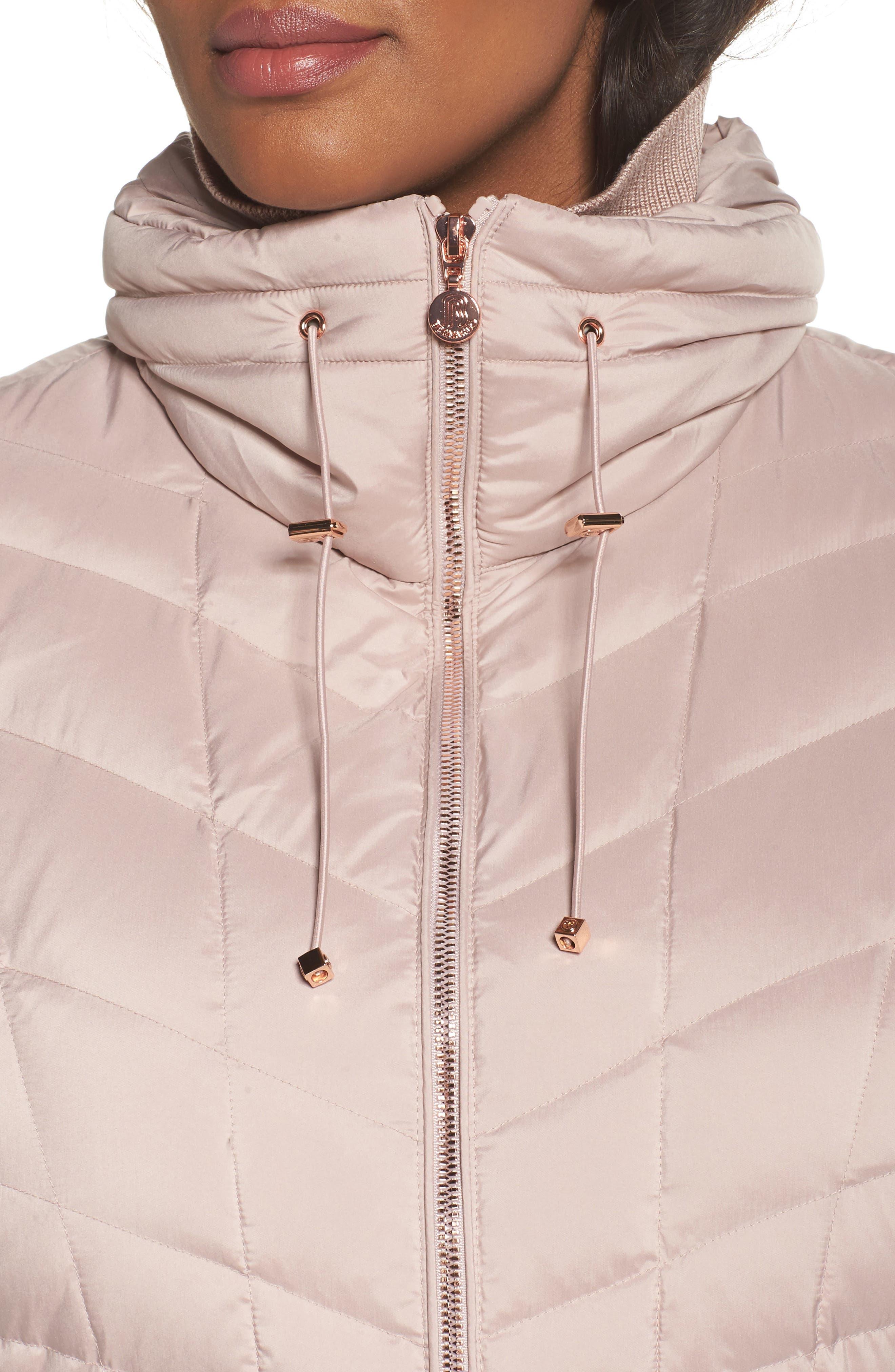 Packable Water Resistant Down & PrimaLoft<sup>®</sup> Coat,                             Alternate thumbnail 4, color,                             Petal Pink/ Snow Leopard