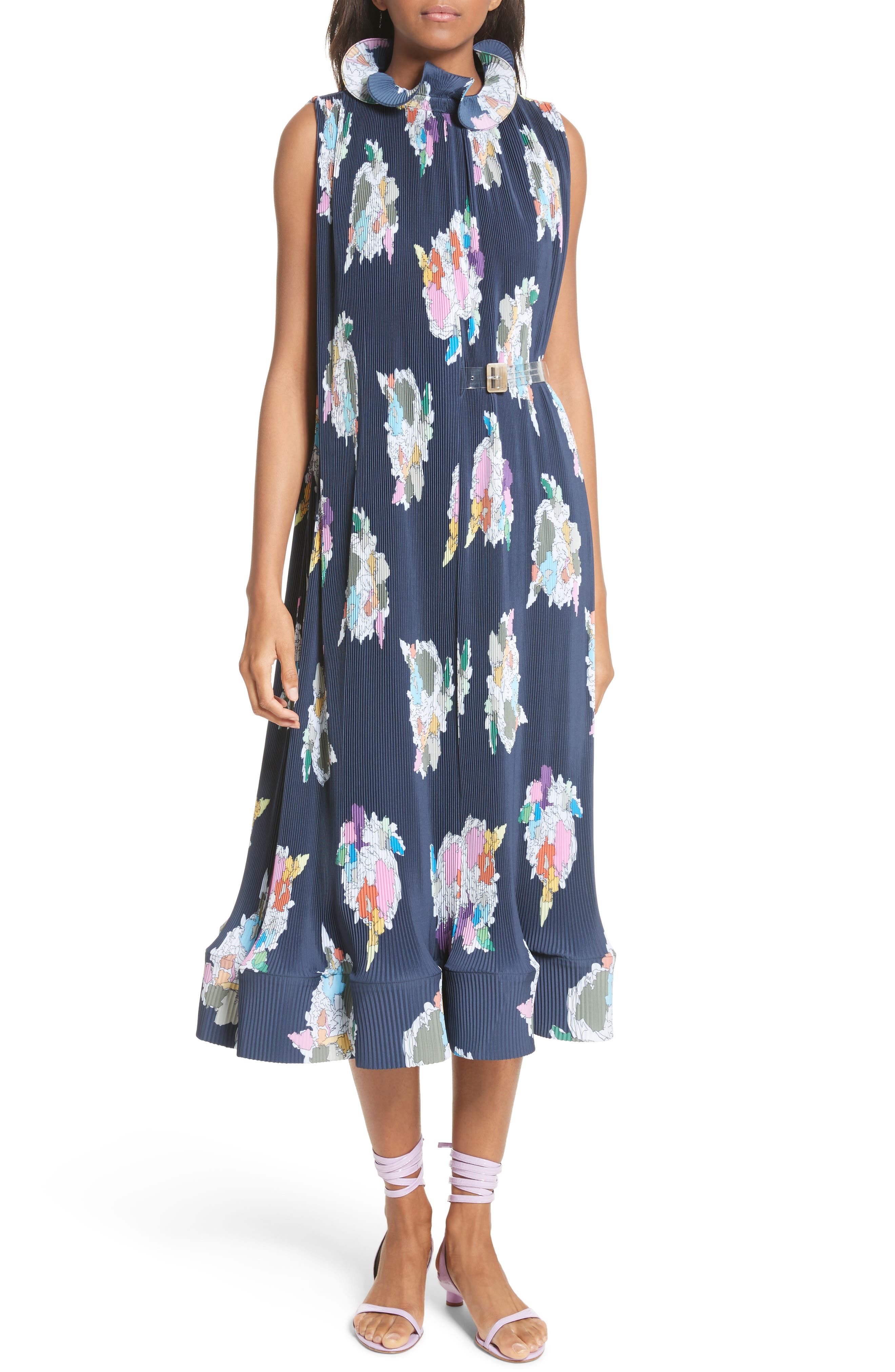 Asymmetrical Belted Floral Dress,                             Main thumbnail 1, color,                             Navy
