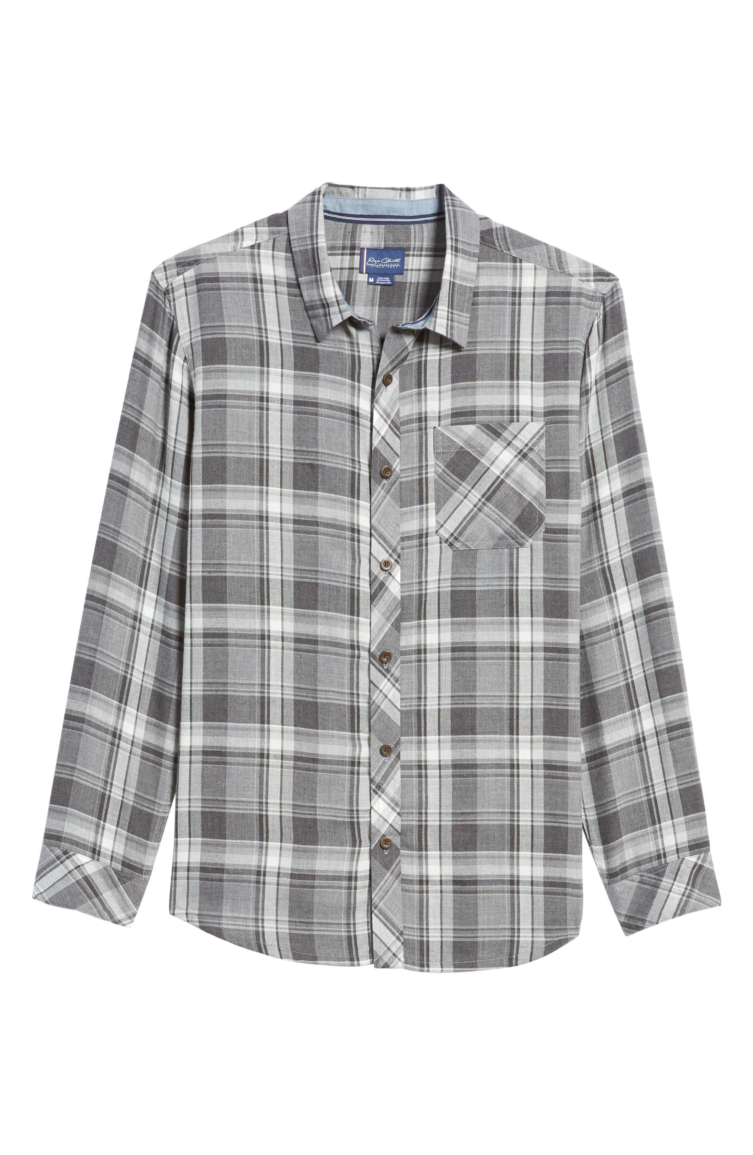 Shelter Plaid Sport Shirt,                             Alternate thumbnail 6, color,                             Grey