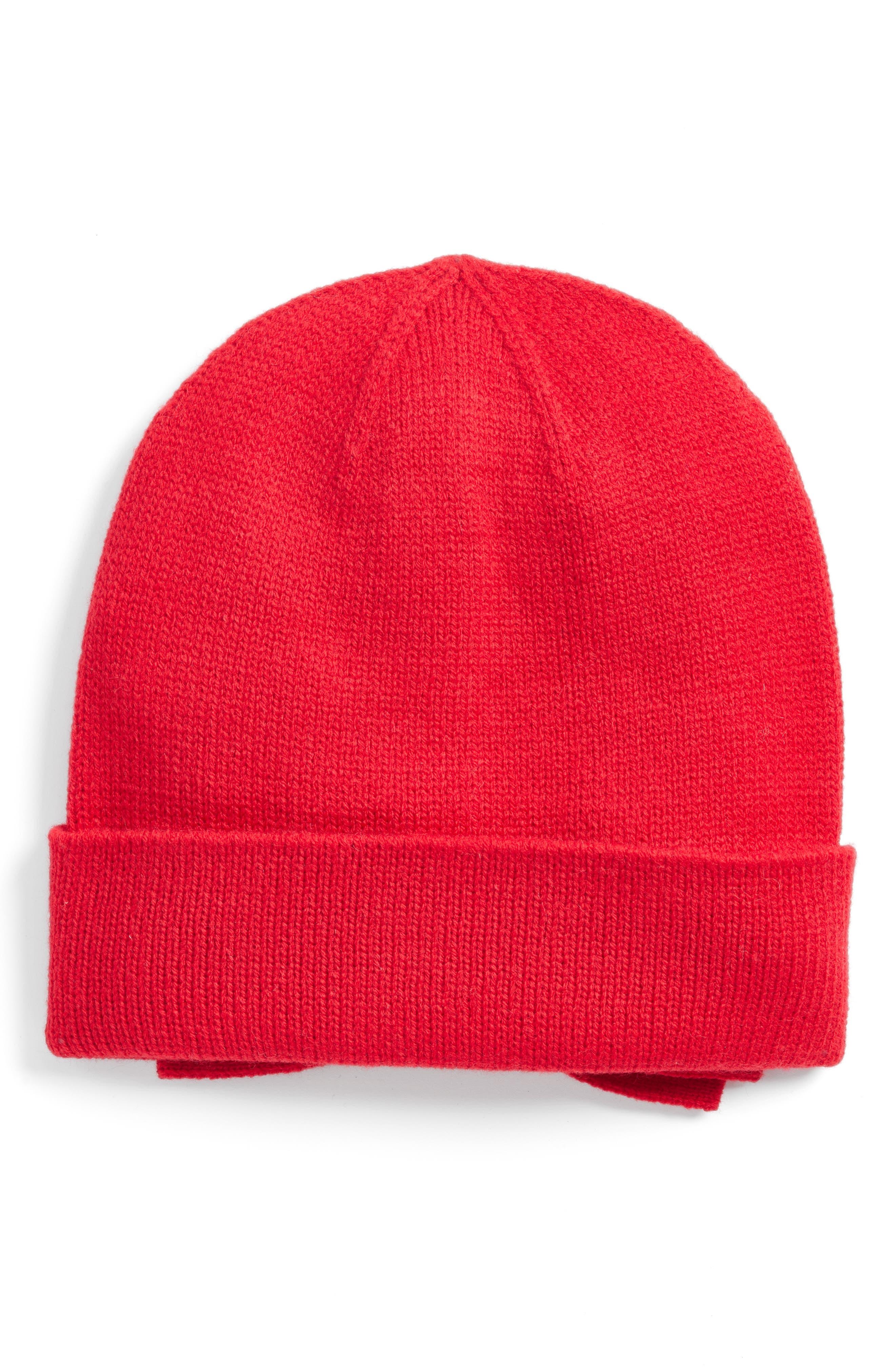 half bow beanie,                         Main,                         color, Charm Red