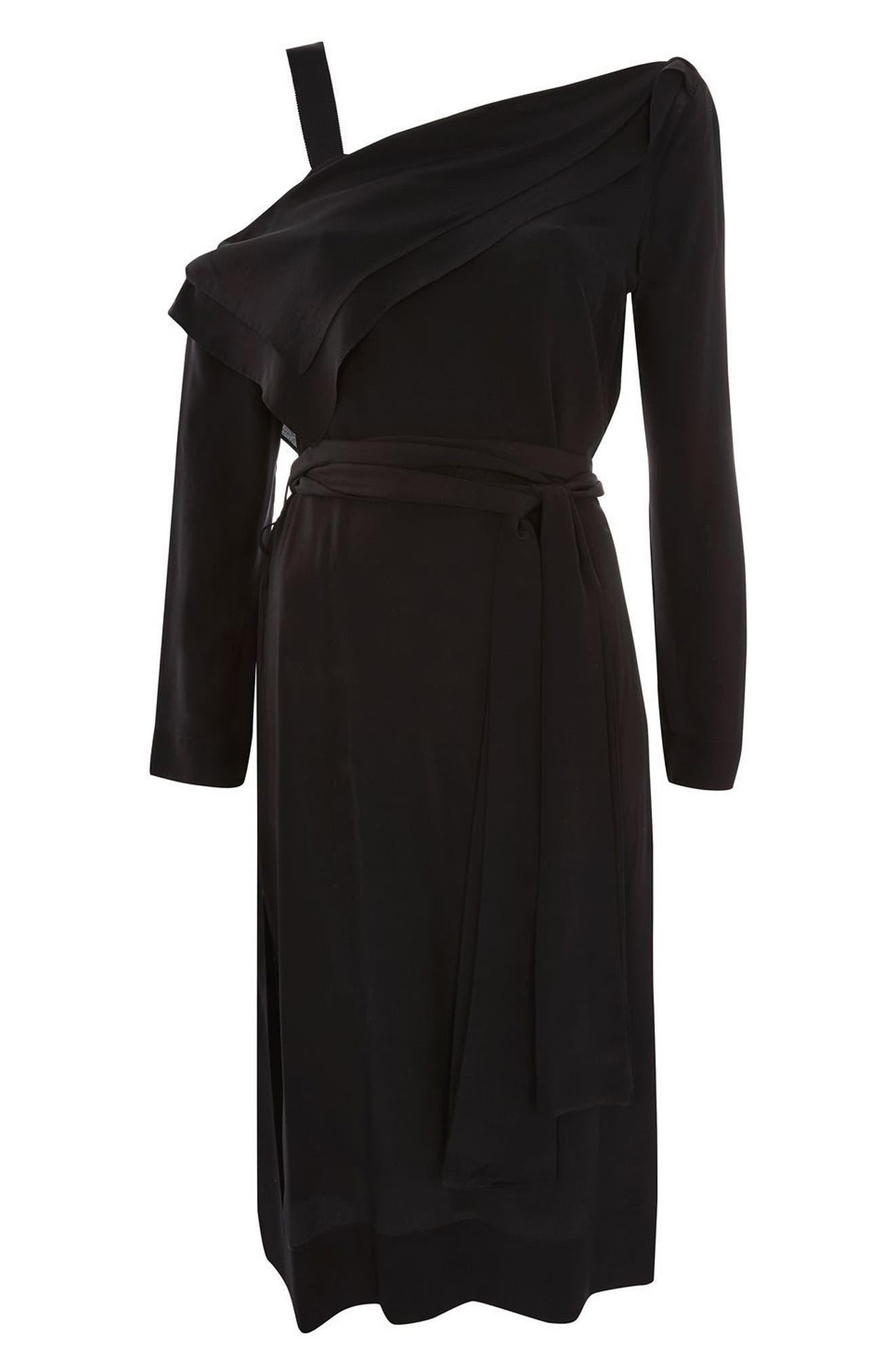 Off the Shoulder Silk Drape Dress,                             Alternate thumbnail 5, color,                             Black