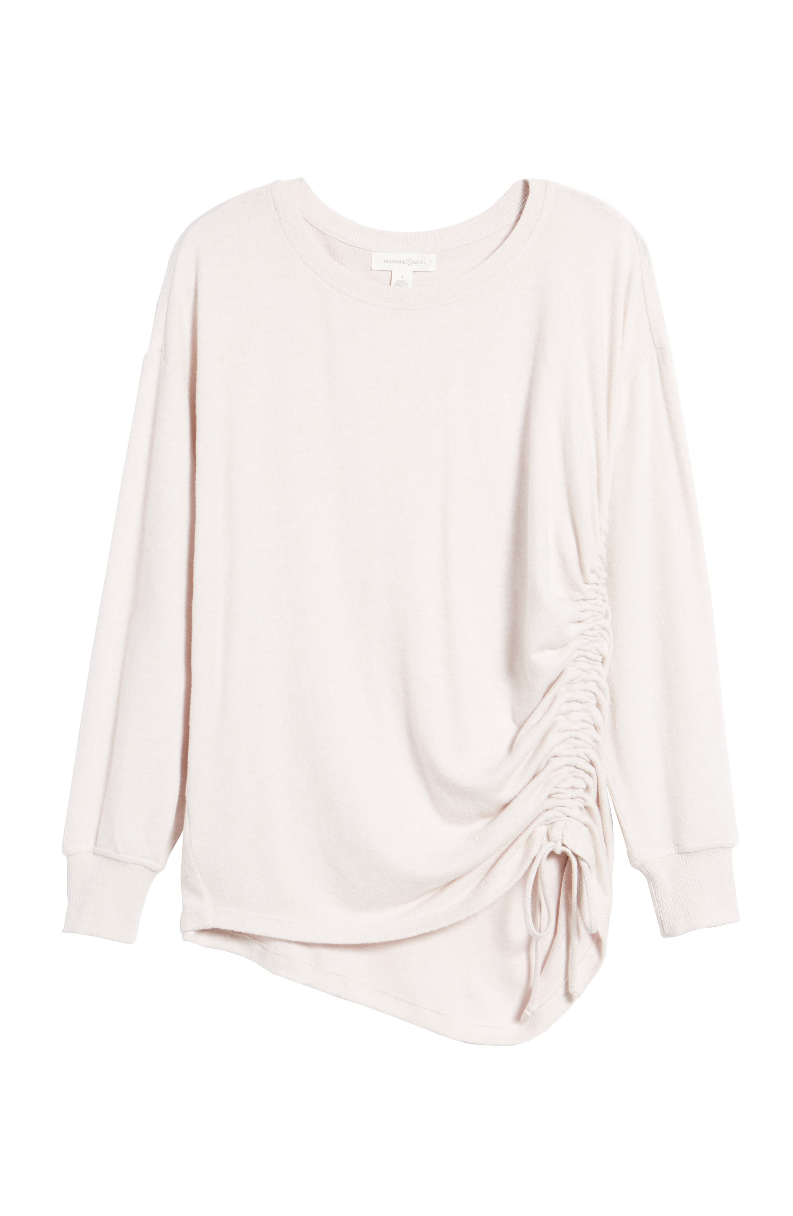 Side Cinch Sweatshirt,                             Alternate thumbnail 6, color,                             Pink Hush