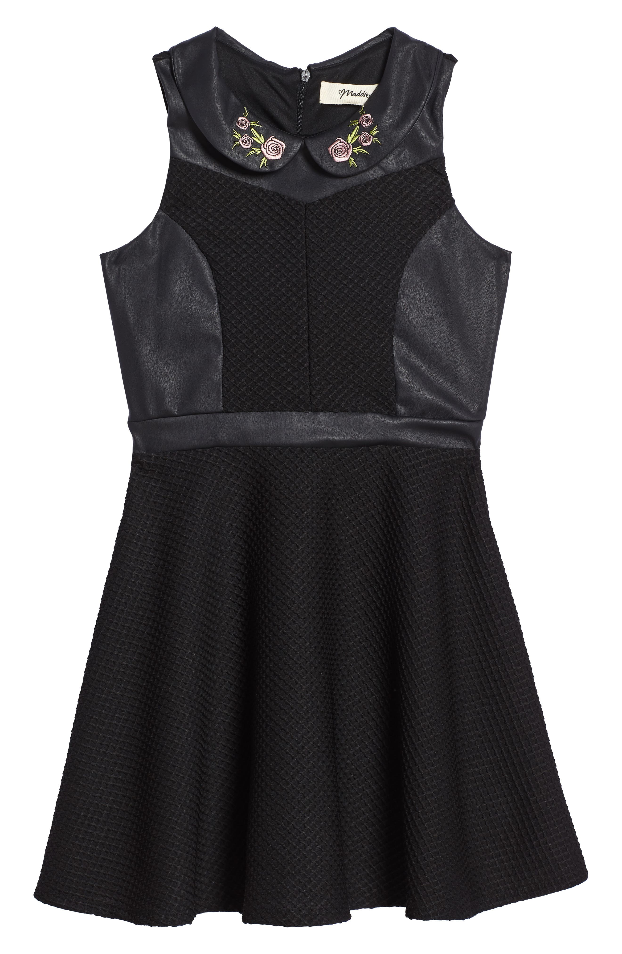 Faux Leather Skater Dress,                             Main thumbnail 1, color,                             Black