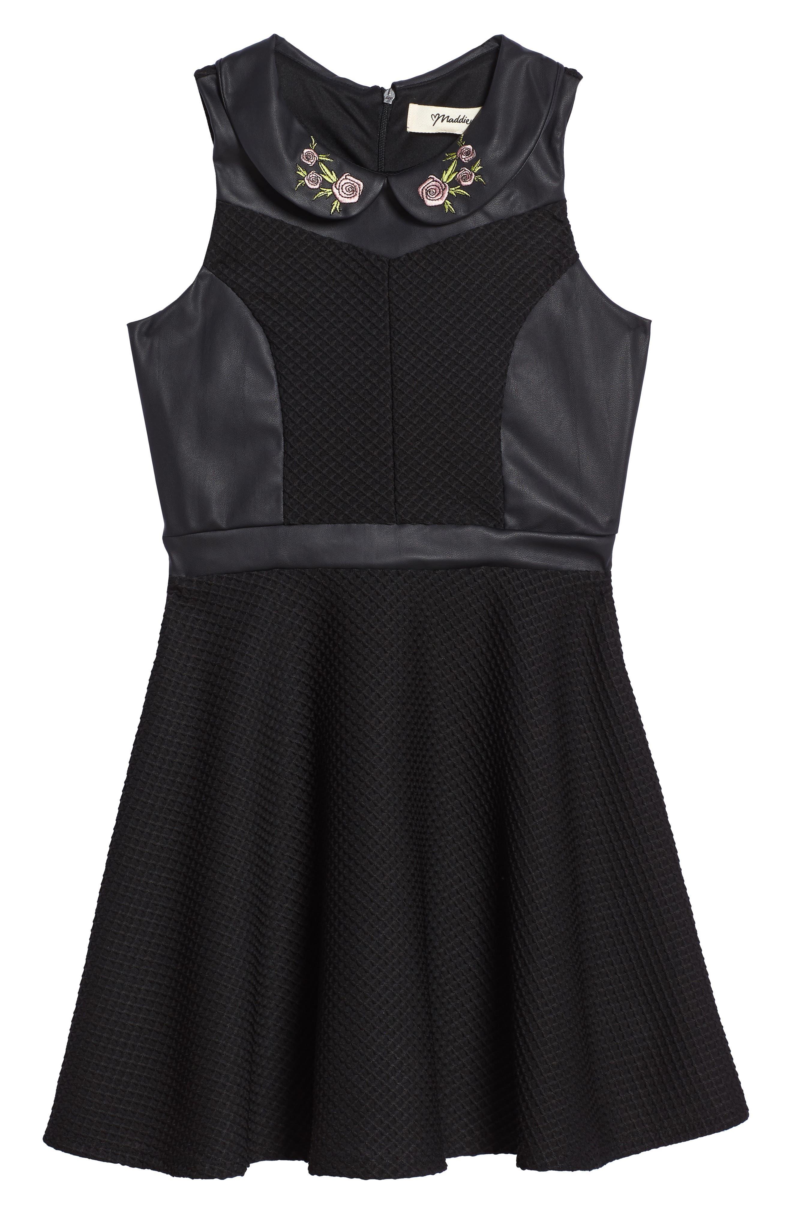Faux Leather Skater Dress,                         Main,                         color, Black