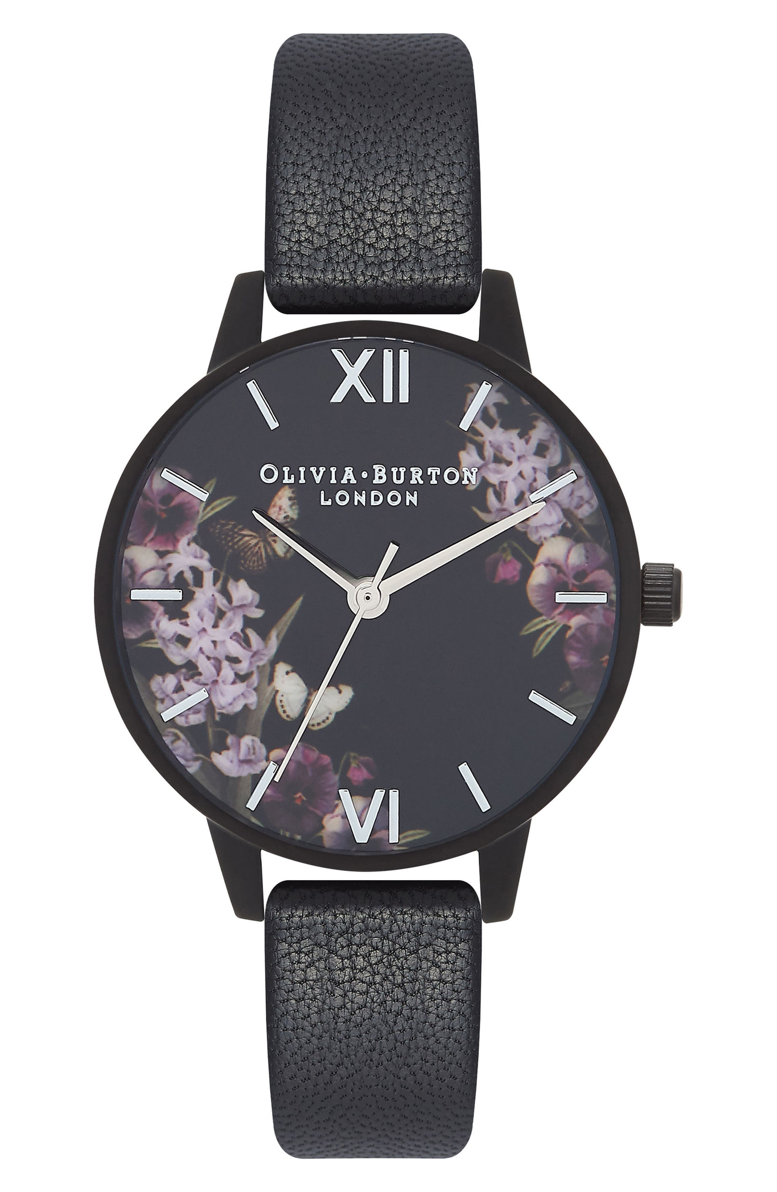 After Dark Leather Strap Watch, 30mm,                         Main,                         color, Black Floral
