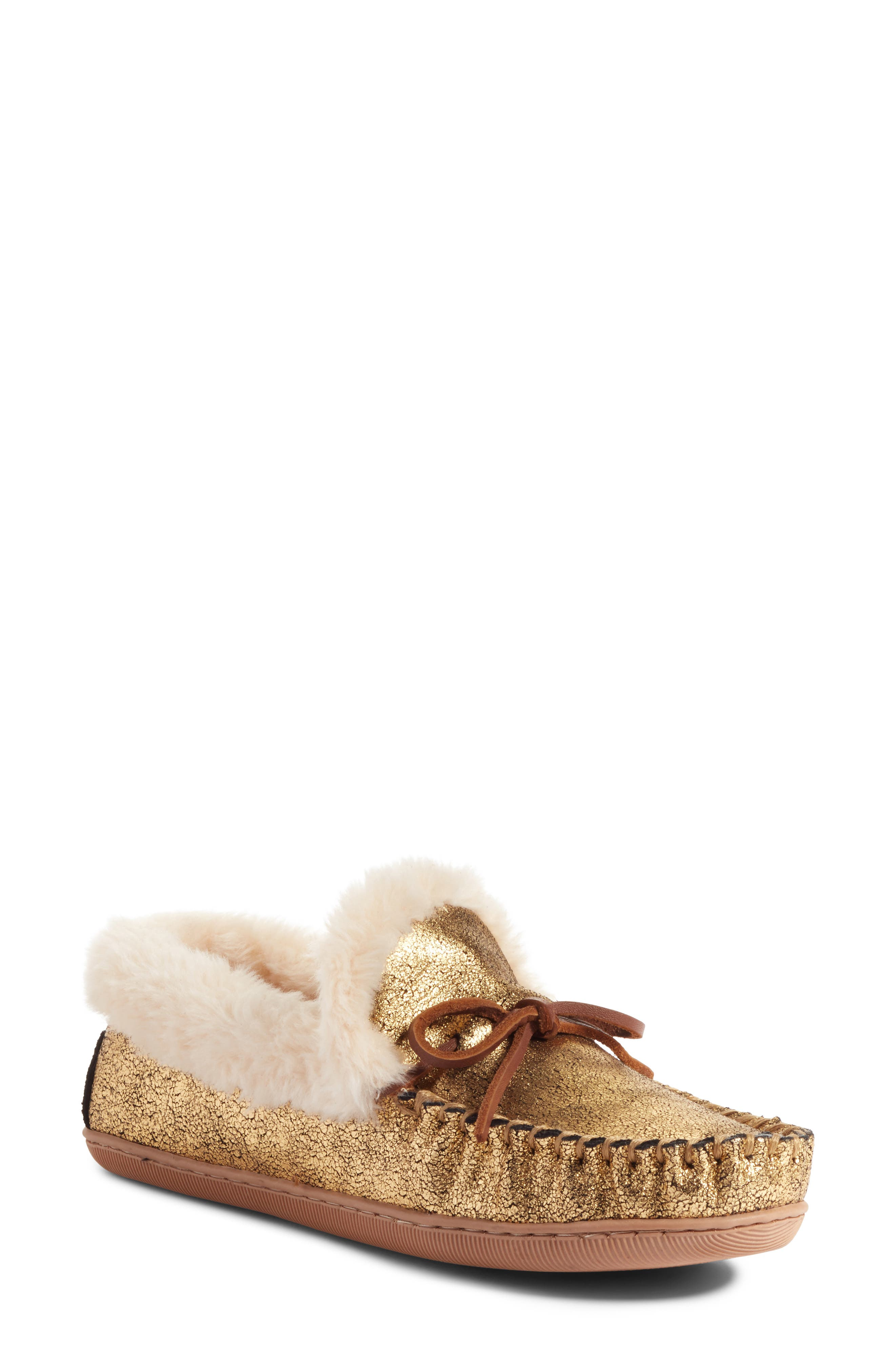 J.Crew Metallic Moccasin Lodge Slipper (Women)