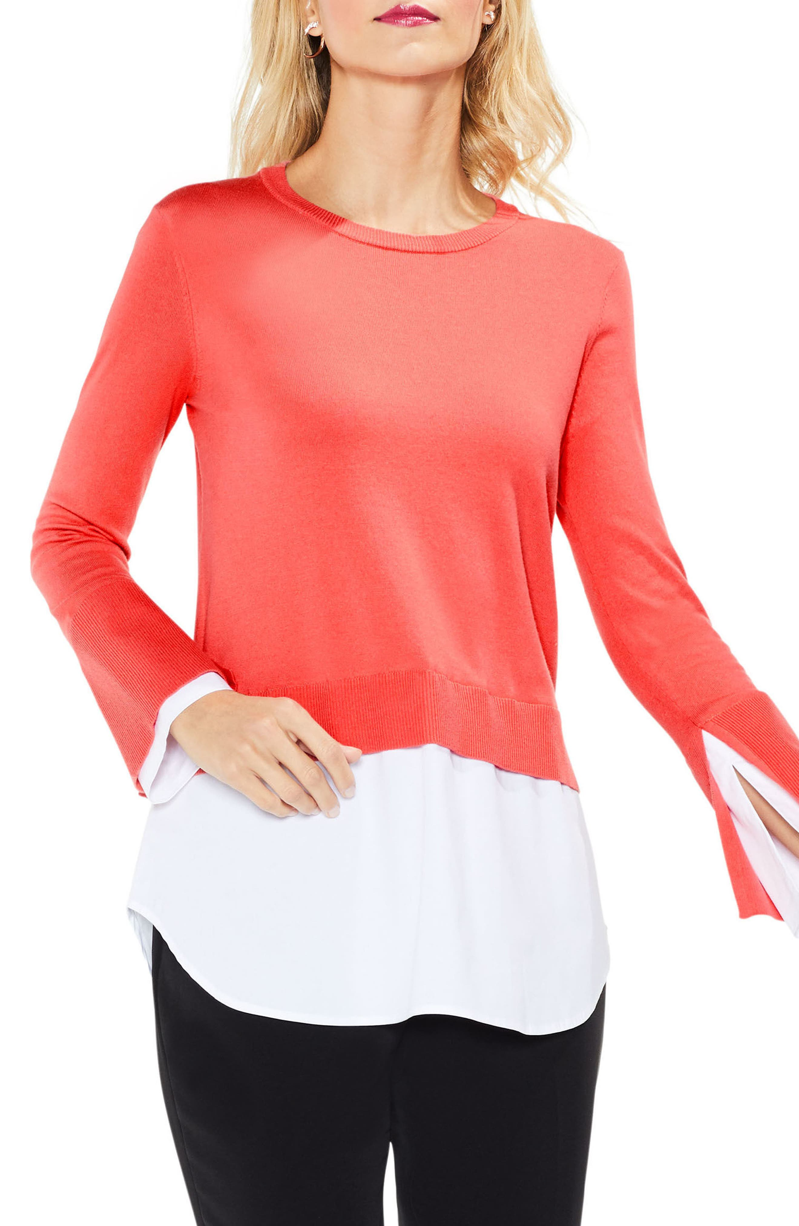 Alternate Image 1 Selected - Vince Camuto Layered Look Sweater