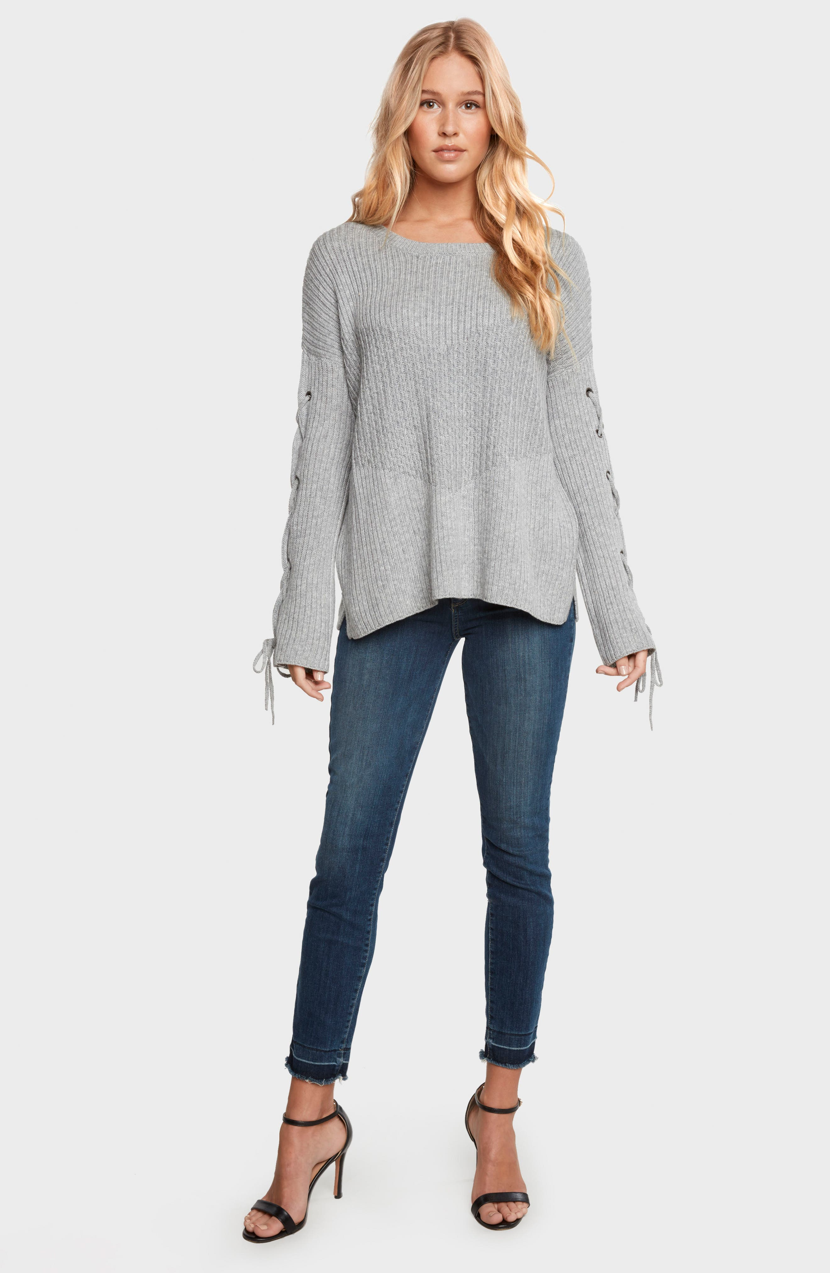 Alternate Image 2  - Willow & Clay Lace-Up Sleeve Sweater