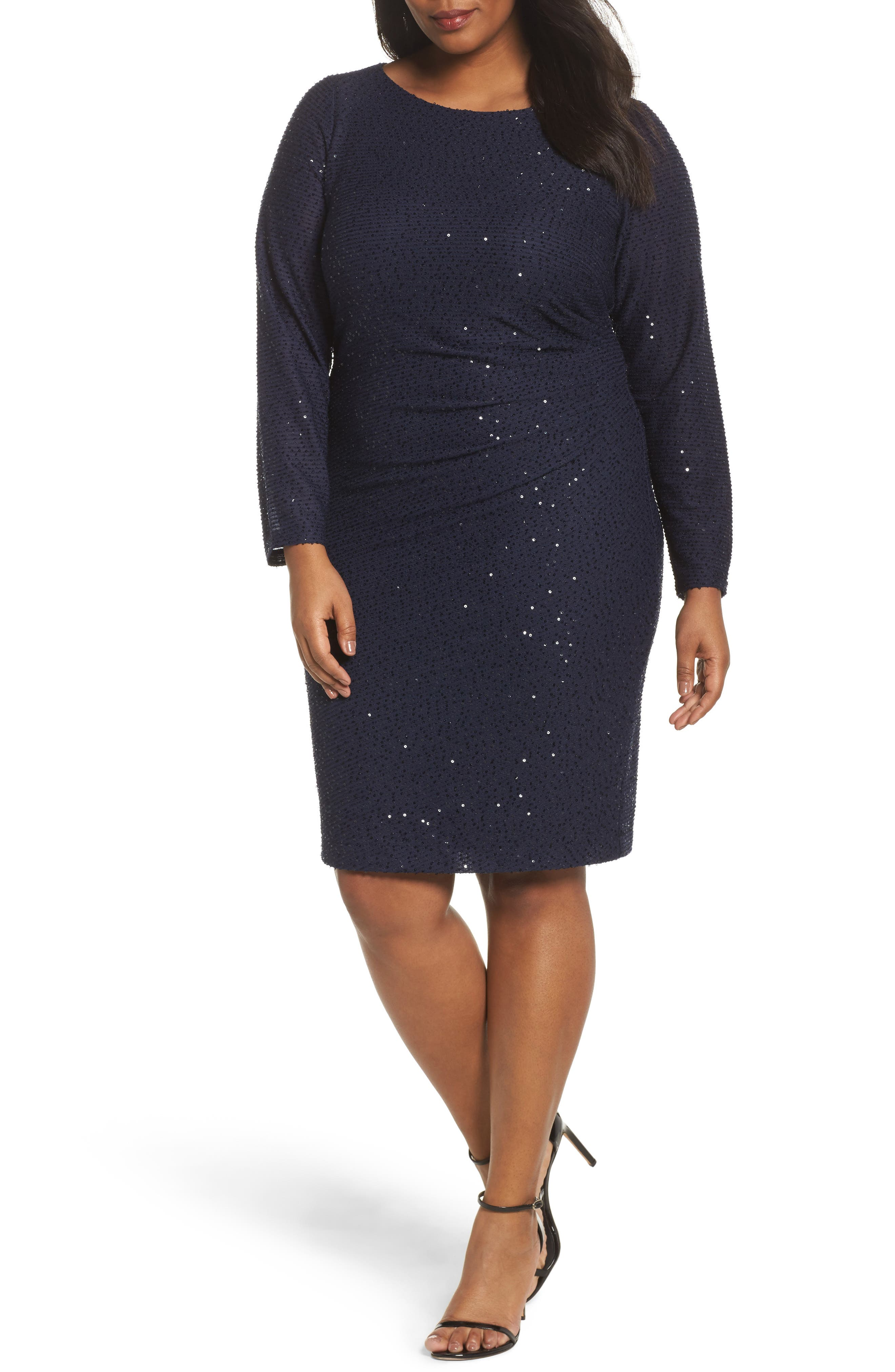 Sequin Knit Long Sleeve Dress,                         Main,                         color, Navy