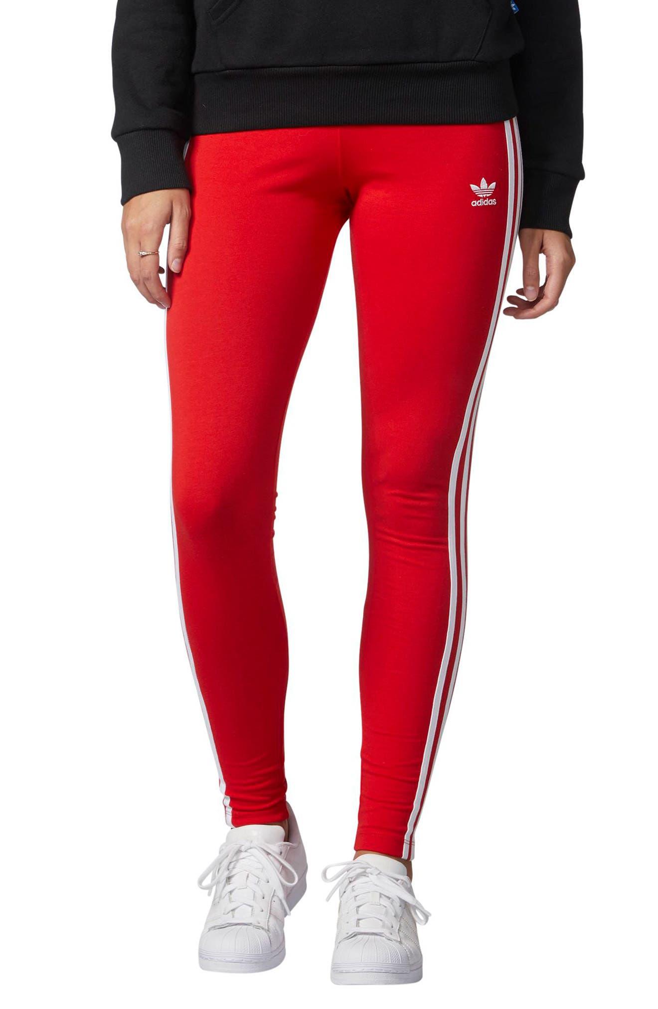 adidas Originals Logo Leggings. MEDIUM GREY HEATHER; VIVID RED S13