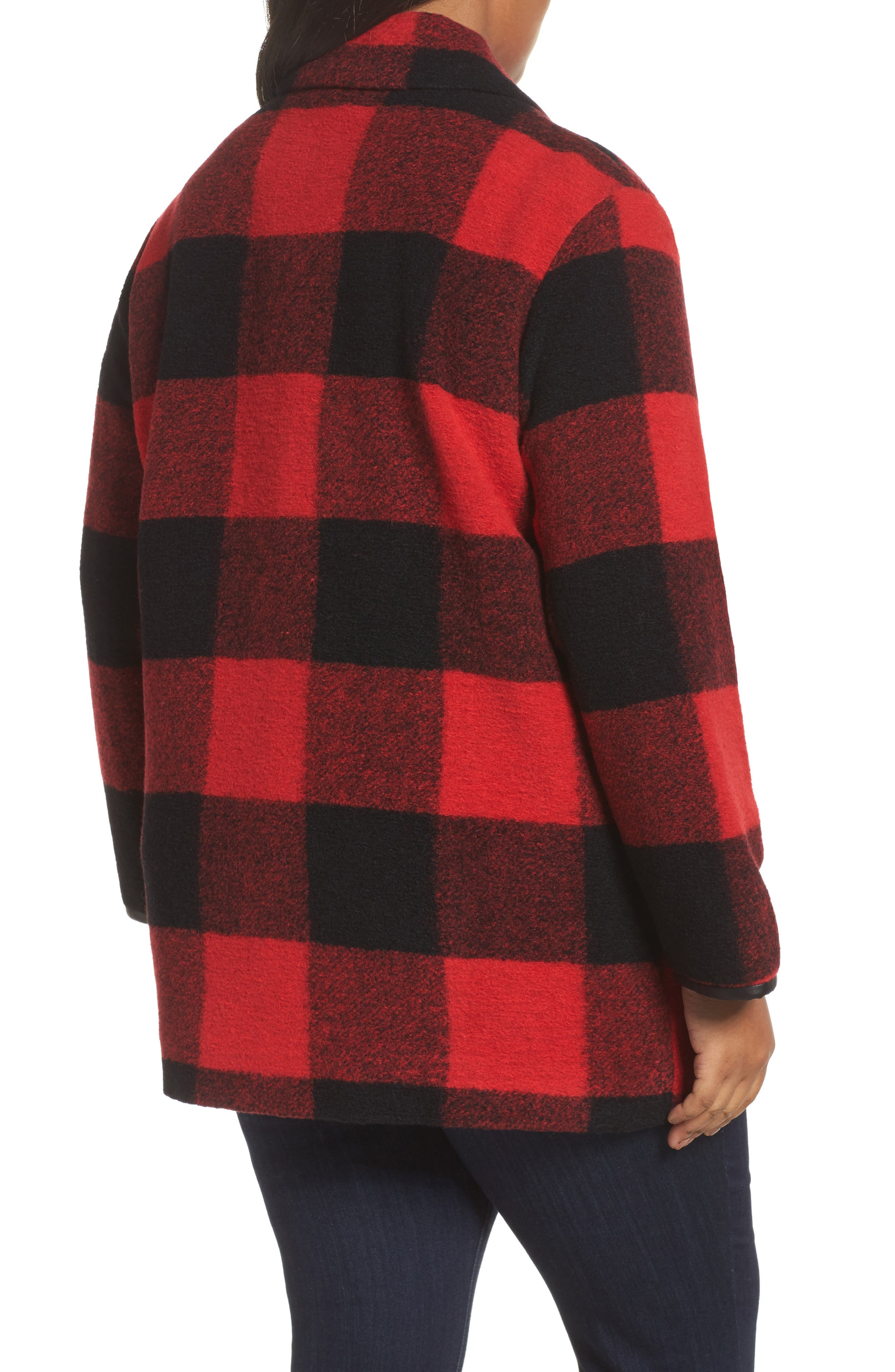 Alternate Image 2  - Pendleton Paul Bunyan Plaid Wool Blend Barn Coat (Plus Size)