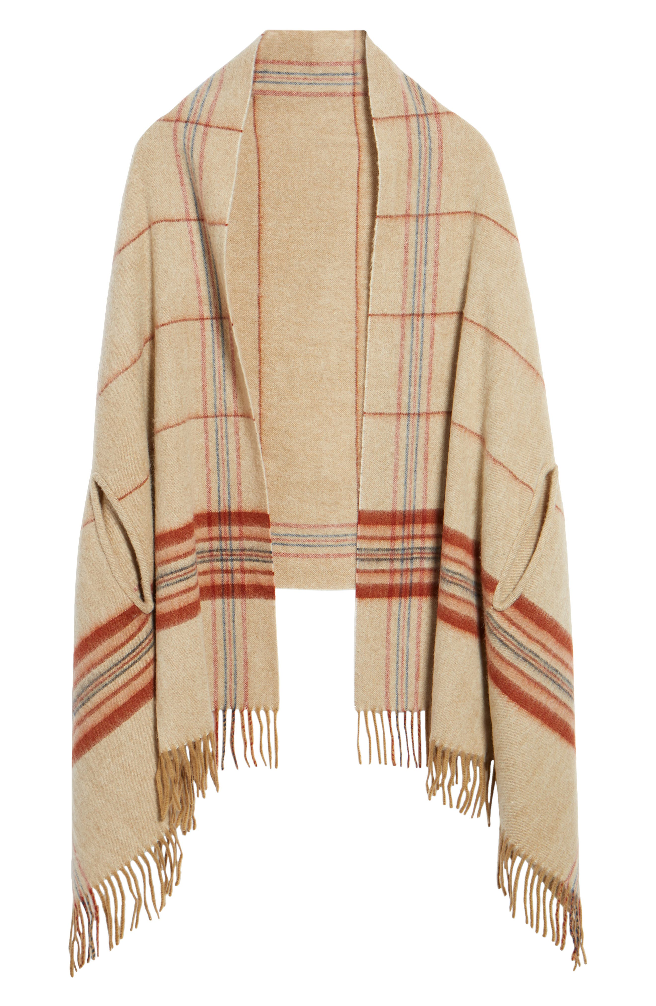 Placed Plaid Cape Scarf,                             Alternate thumbnail 6, color,                             Dark Camel Multi