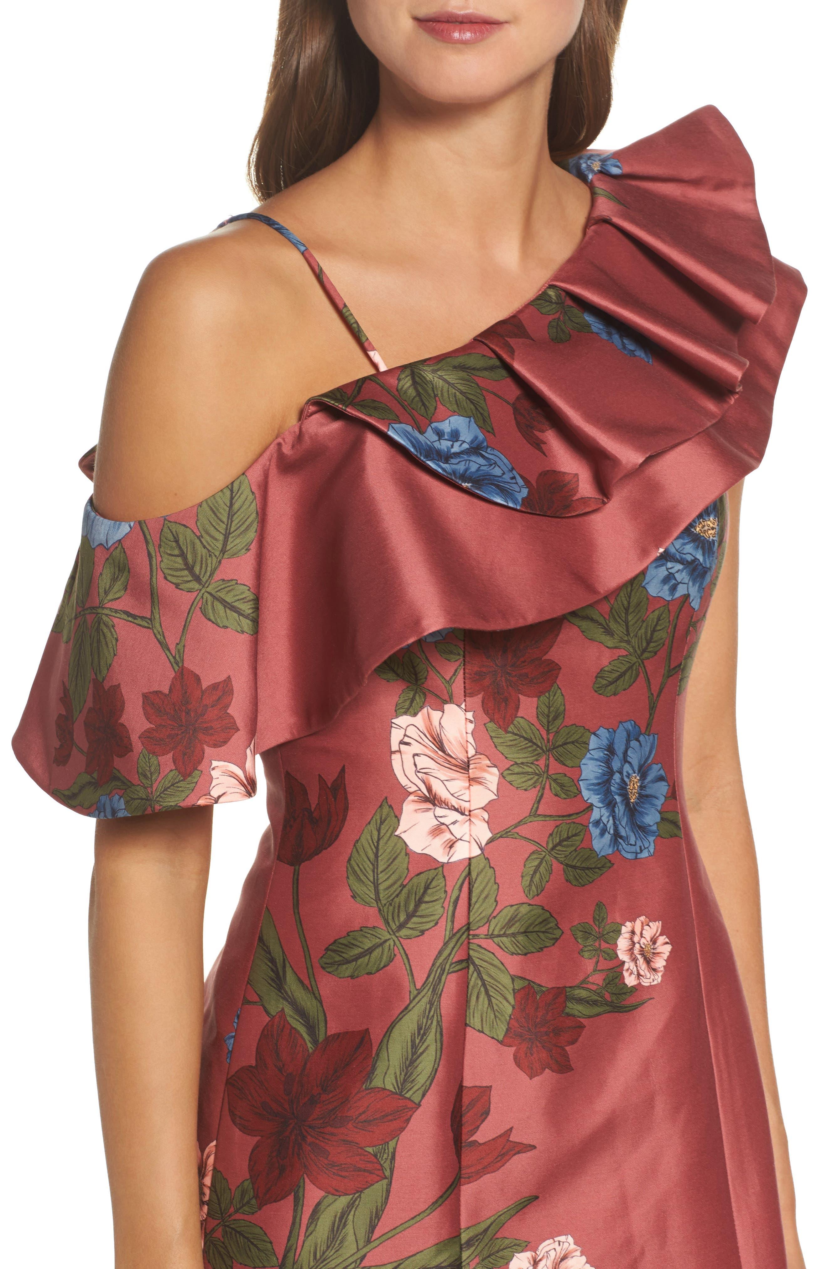Night Lights Floral Asymmetrical Dress,                             Alternate thumbnail 4, color,                             Spice Floral