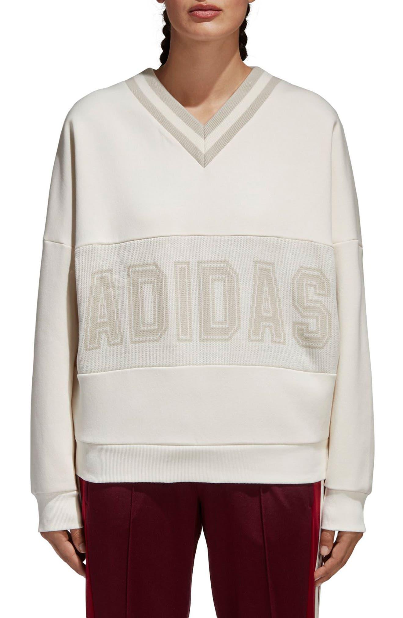 Originals Adibreak Sweatshirt,                             Main thumbnail 1, color,                             Chalk White/ Chalk White