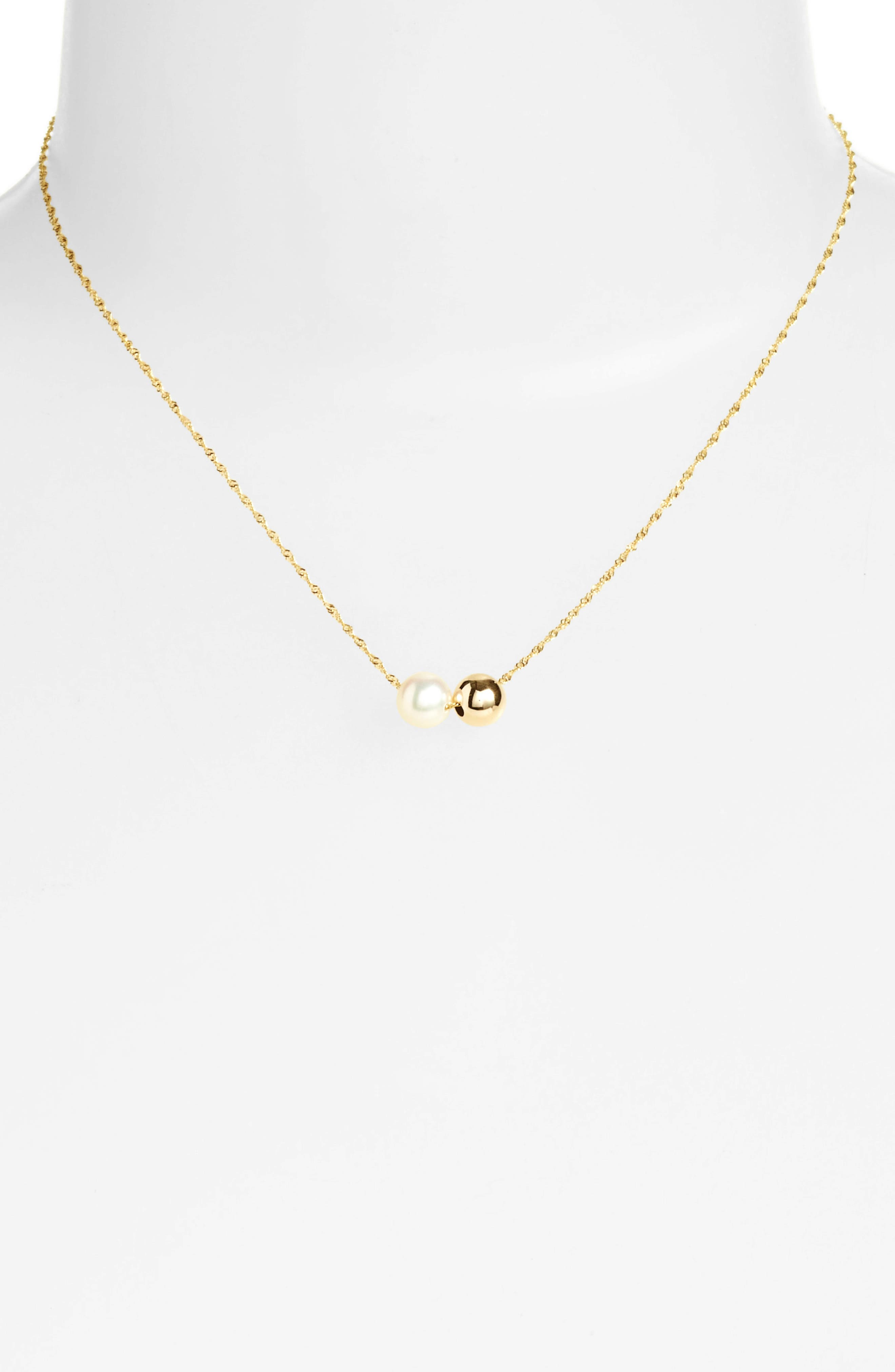 Duo Pearl Pendant Necklace,                             Alternate thumbnail 2, color,                             Yellow Gold