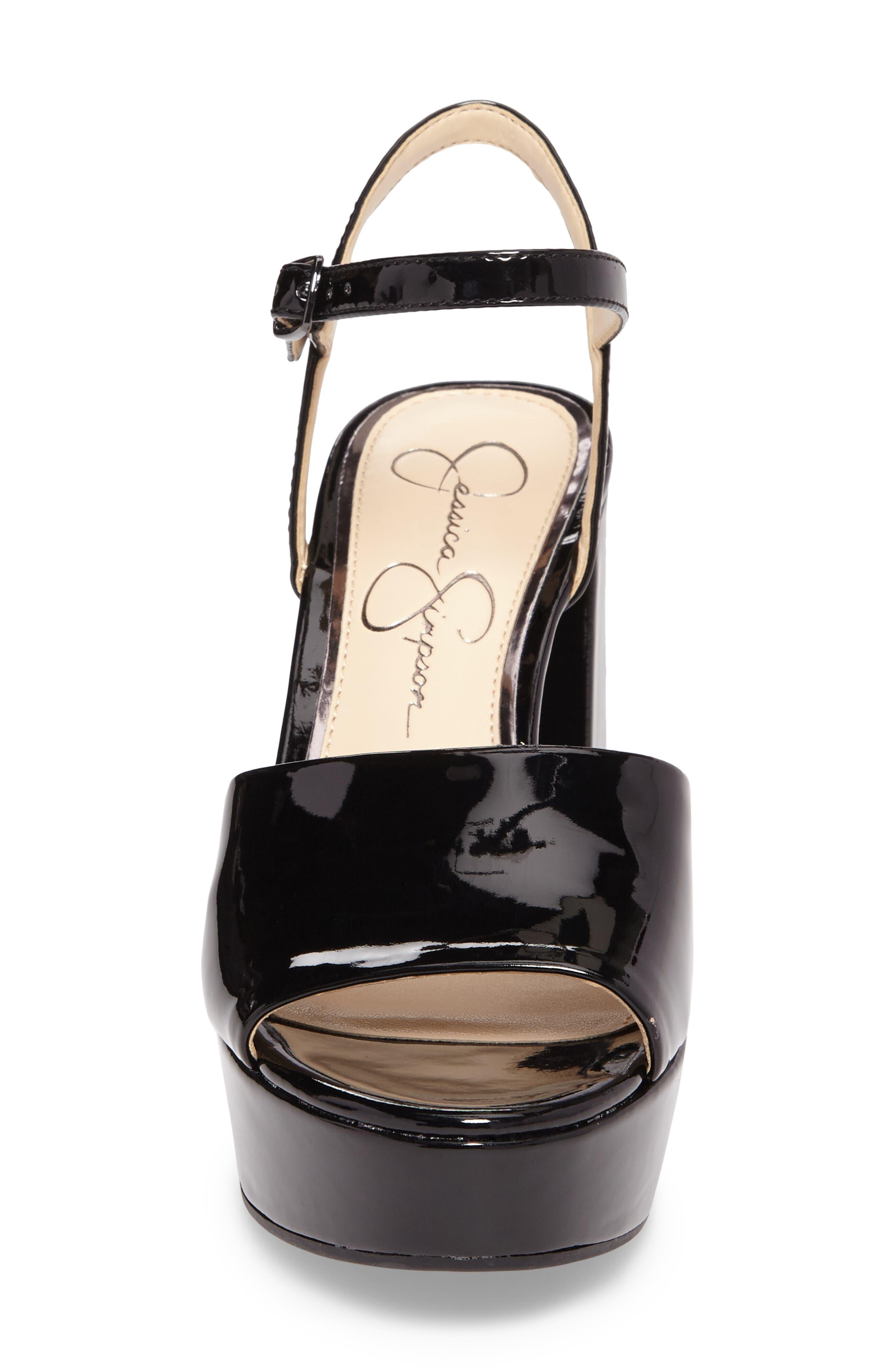 Kerrick Platform Sandal,                             Alternate thumbnail 4, color,                             Black Patent Leather