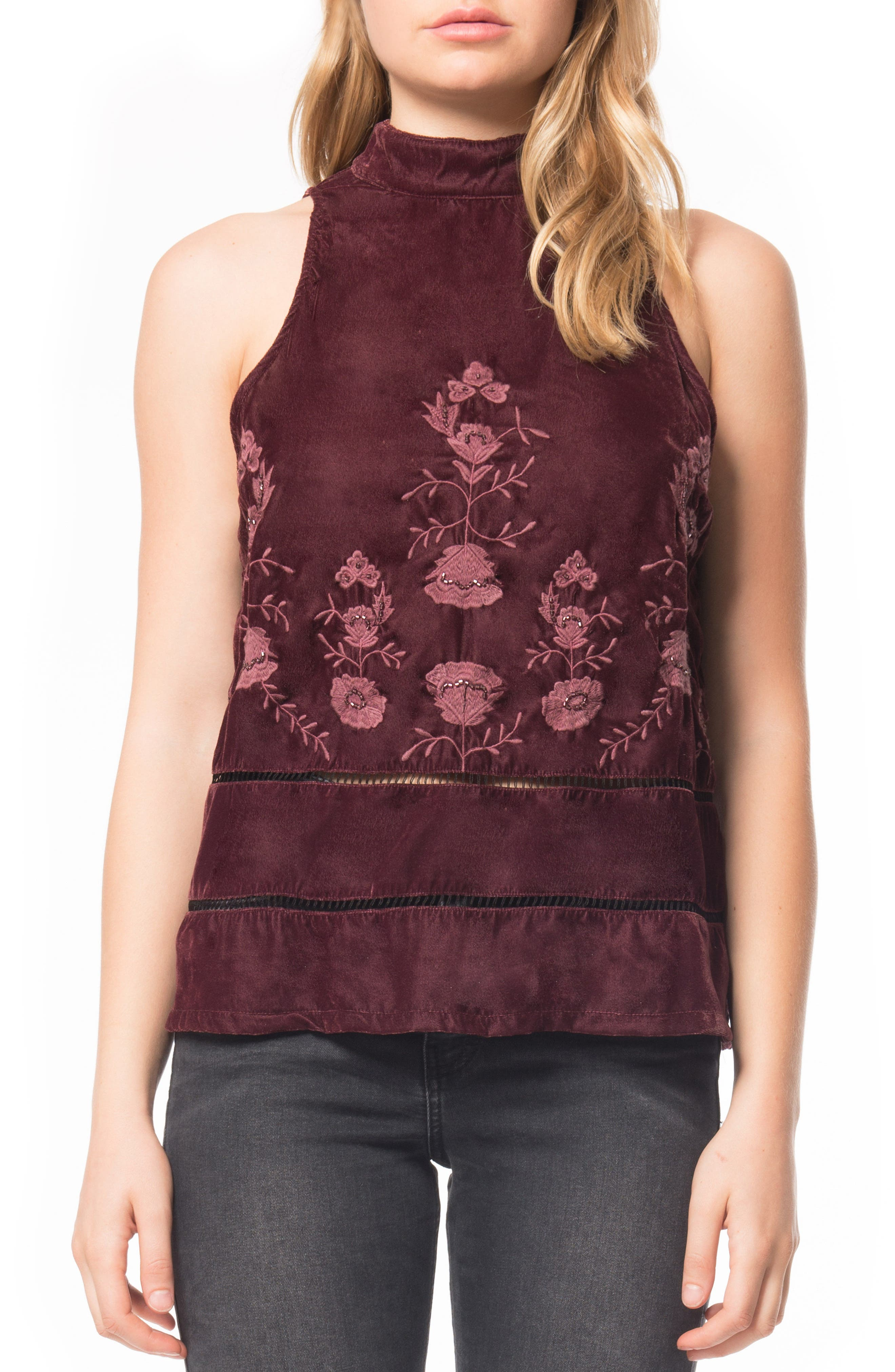 Alternate Image 1 Selected - Willow & Clay Embroidered Velvet Top