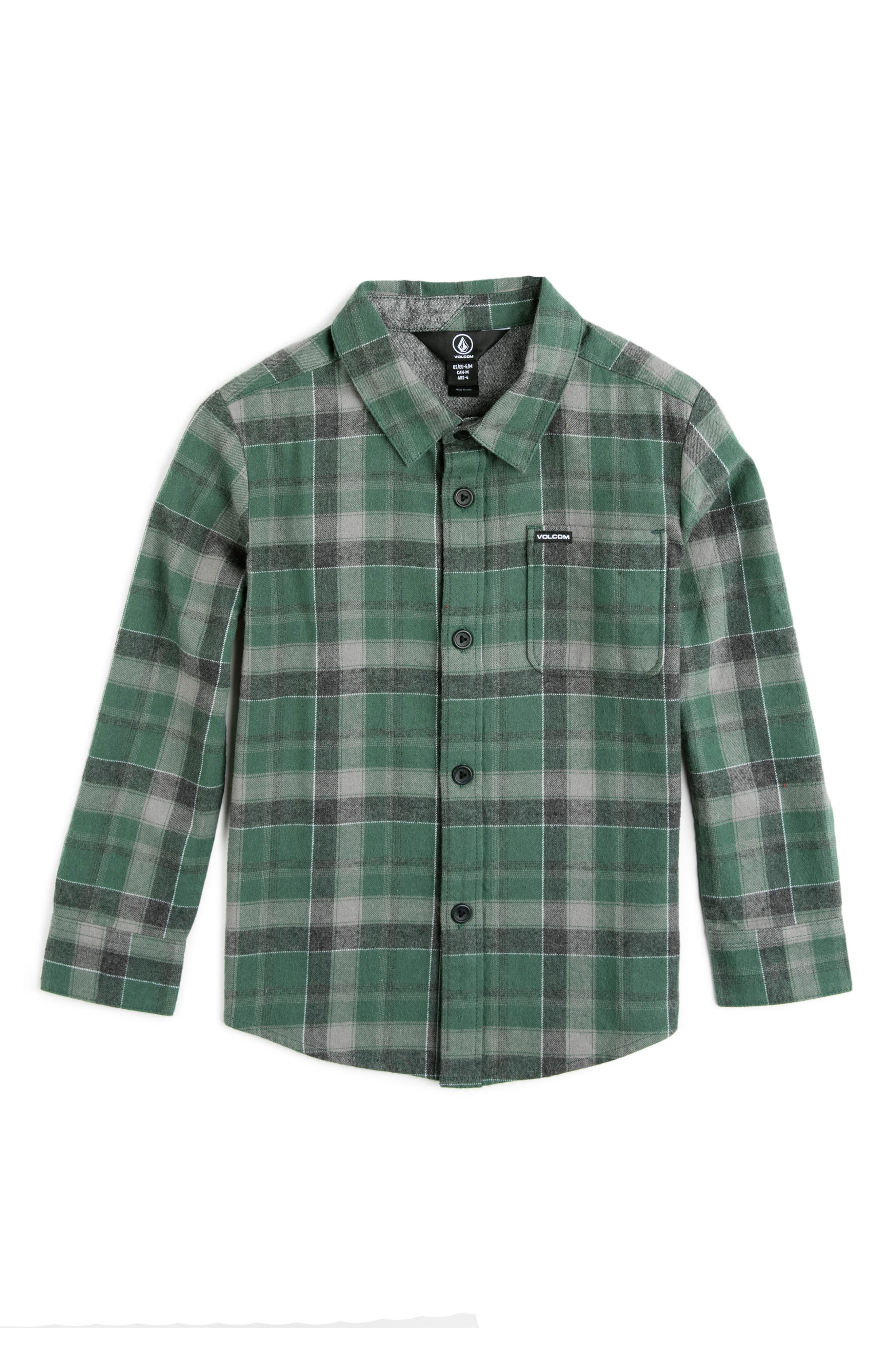 Volcom Caden Plaid Flannel Shirt (Toddler Boys, Little Boys & Big Boys)