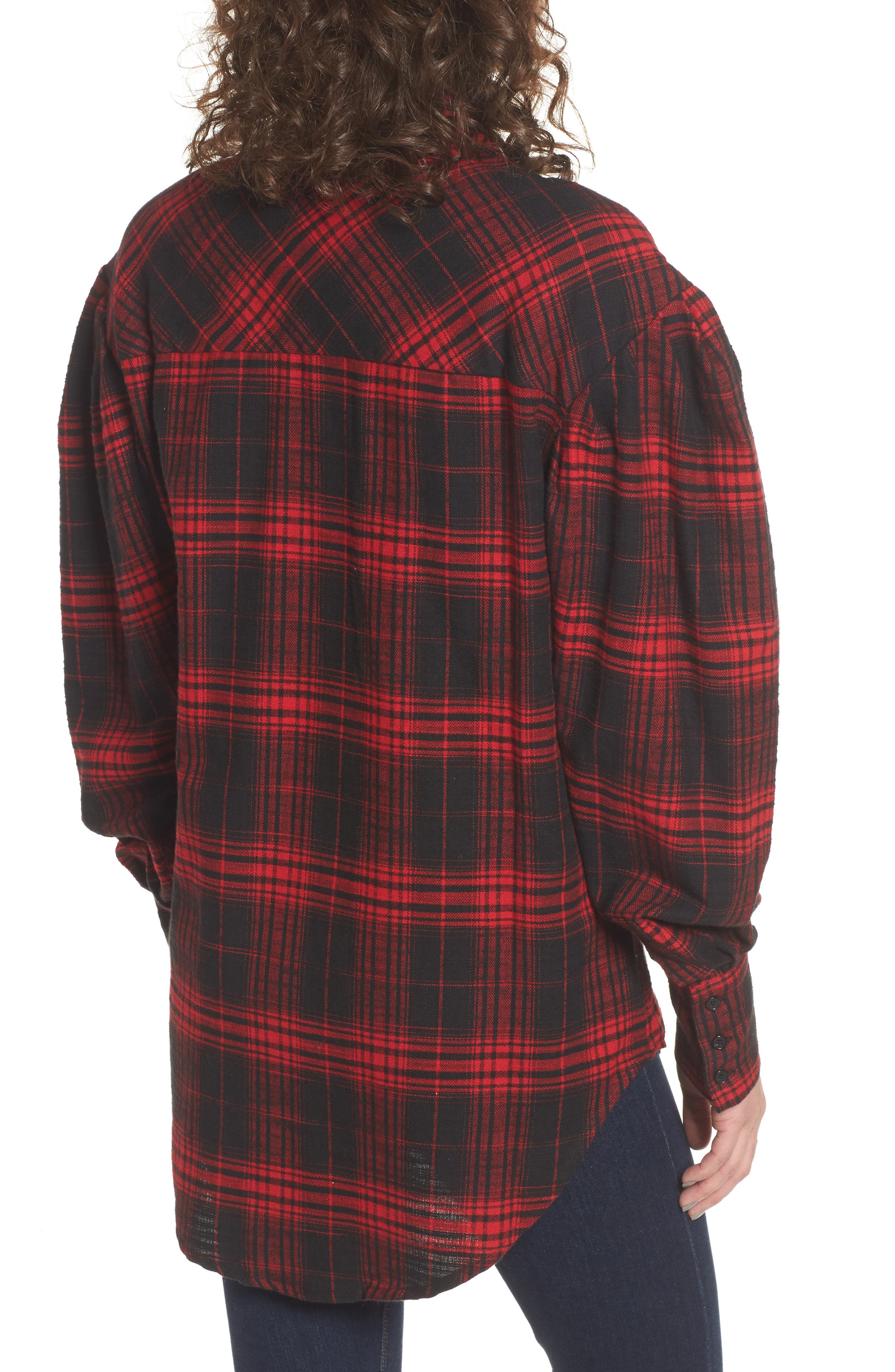 Victoria Oversize Flannel Shirt,                             Alternate thumbnail 2, color,                             Red Flannel