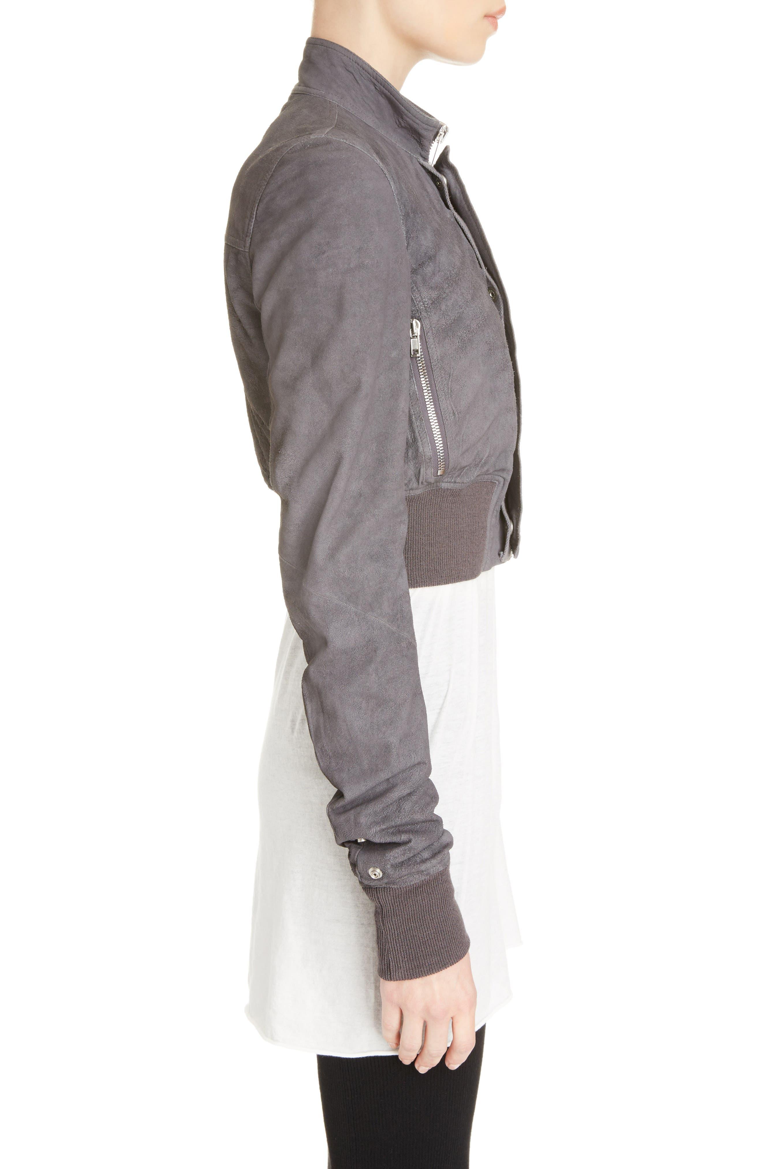 Blistered Leather Jacket,                             Alternate thumbnail 4, color,                             Iron