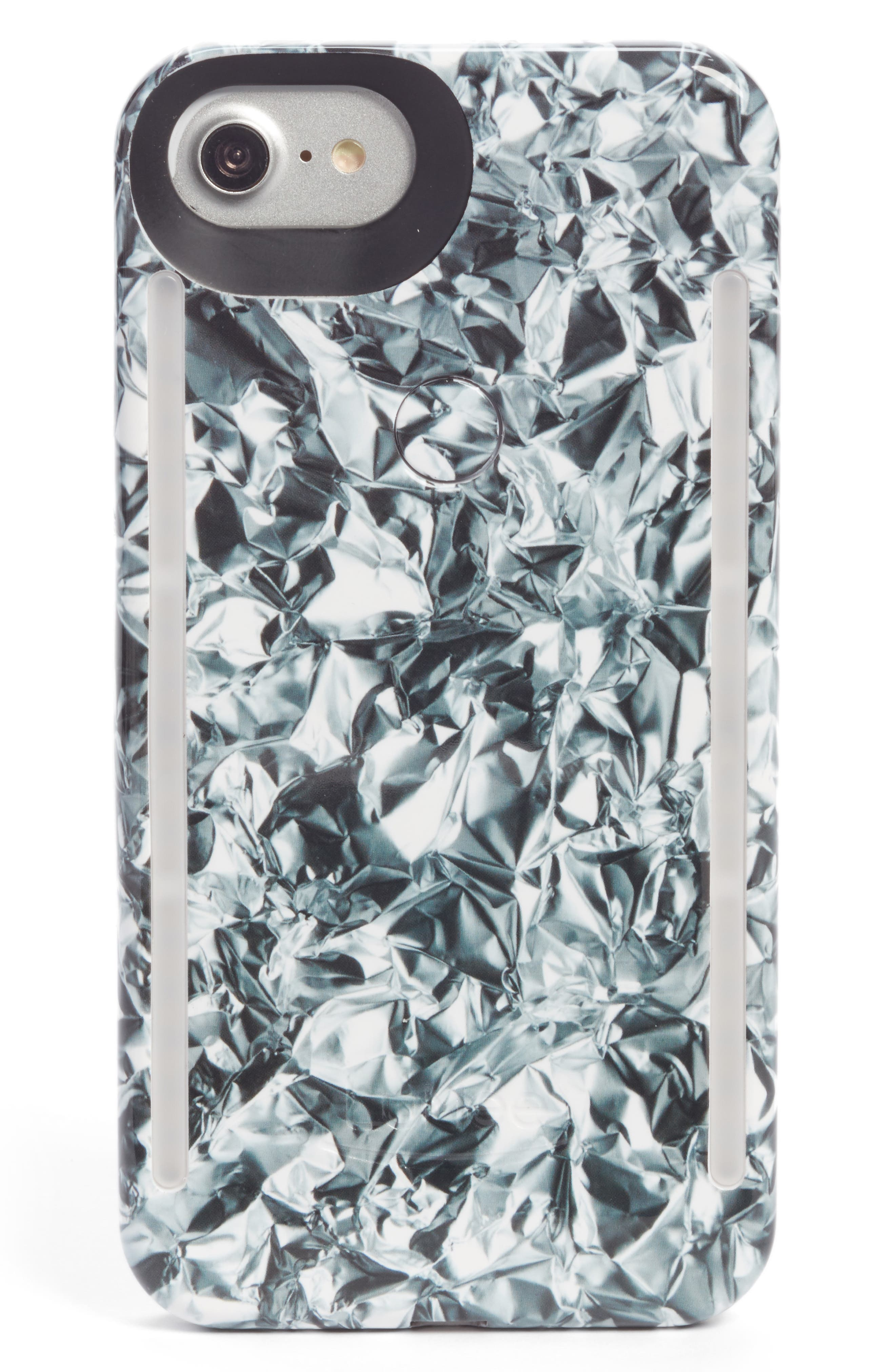 Duo LED Lighted iPhone 6/6s/7/8 & 6/6s/7/8 Plus Case,                         Main,                         color, Silver Crinkle