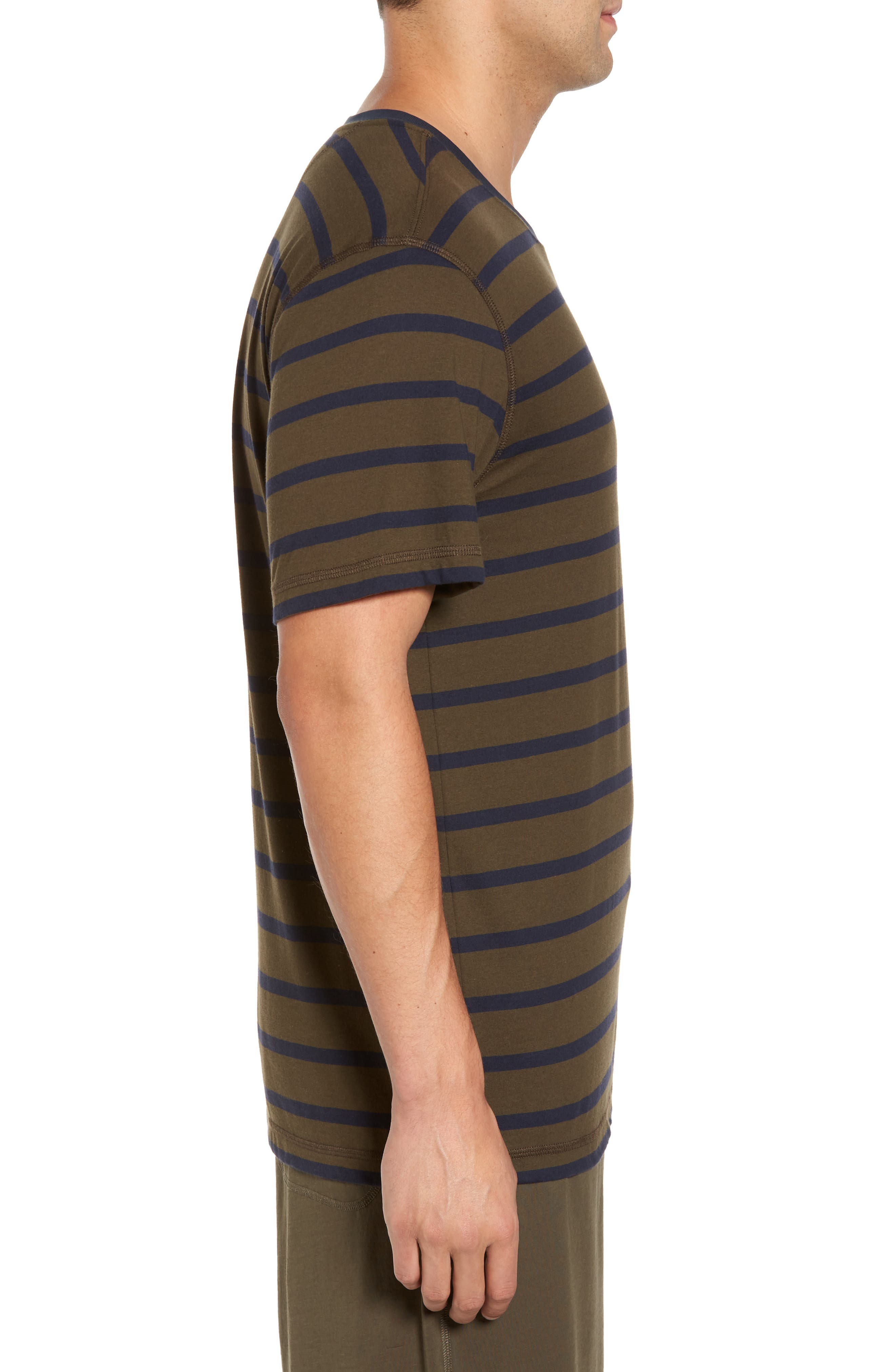 Peruvian Pima Cotton Stripe T-Shirt,                             Alternate thumbnail 3, color,                             Army/ Midnight Stripe