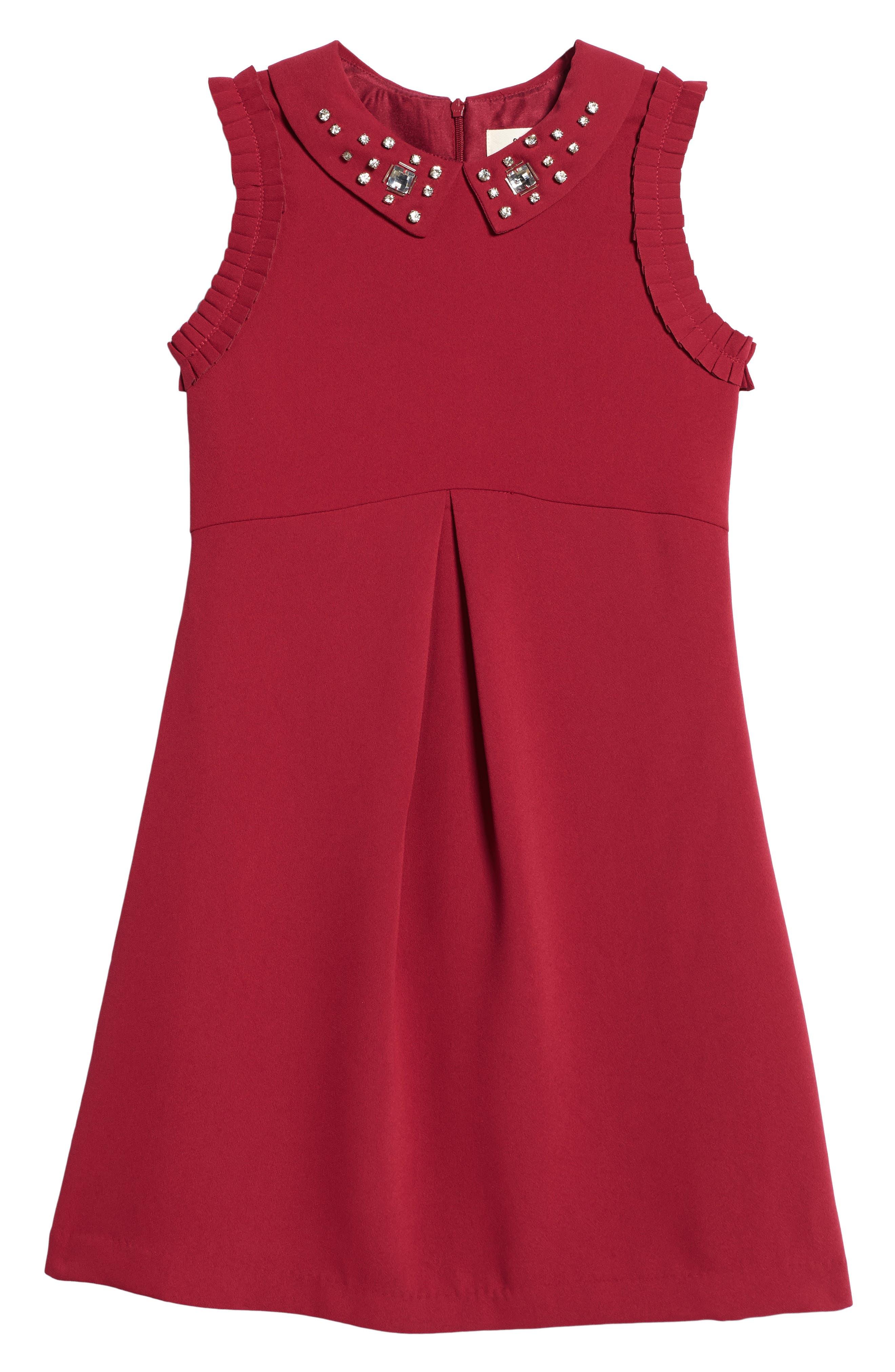 Point Collar Dress,                         Main,                         color, Burgundy