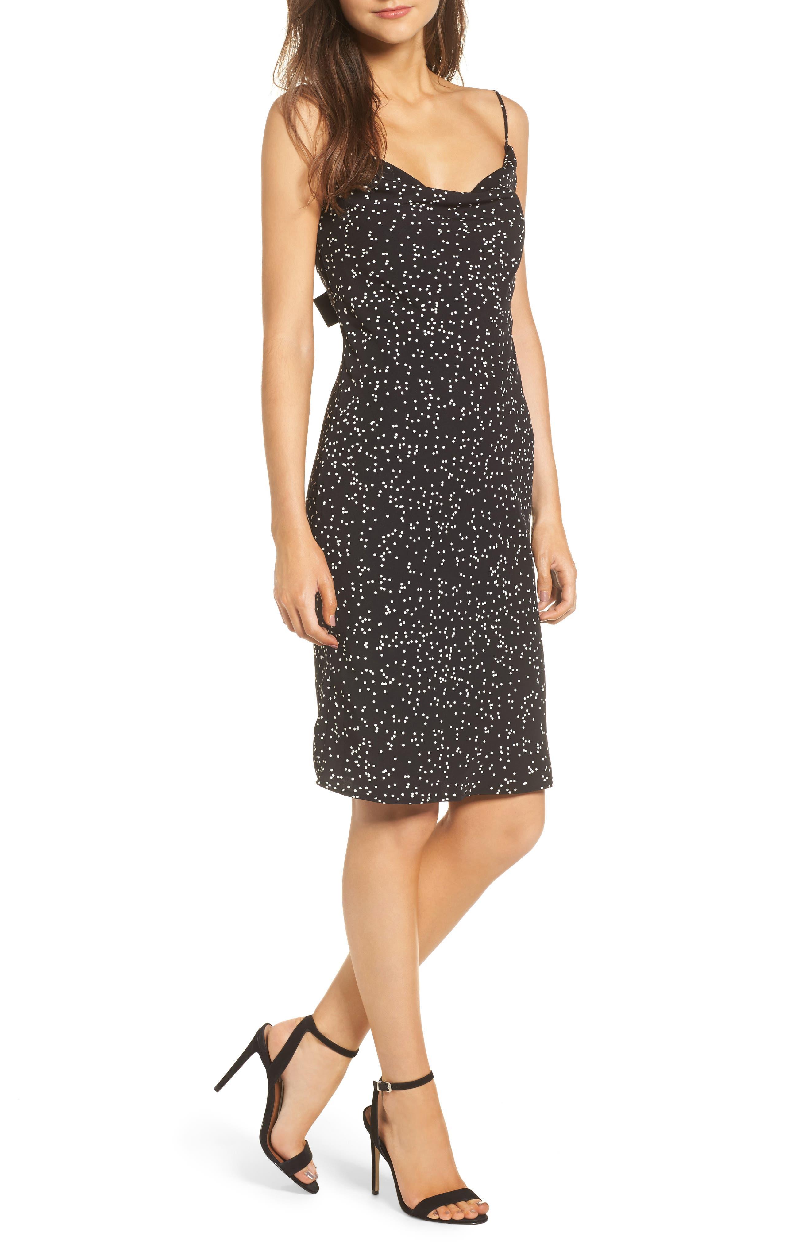 Embrace Me Tie Back Sheath Dress,                         Main,                         color, Black W White Spot