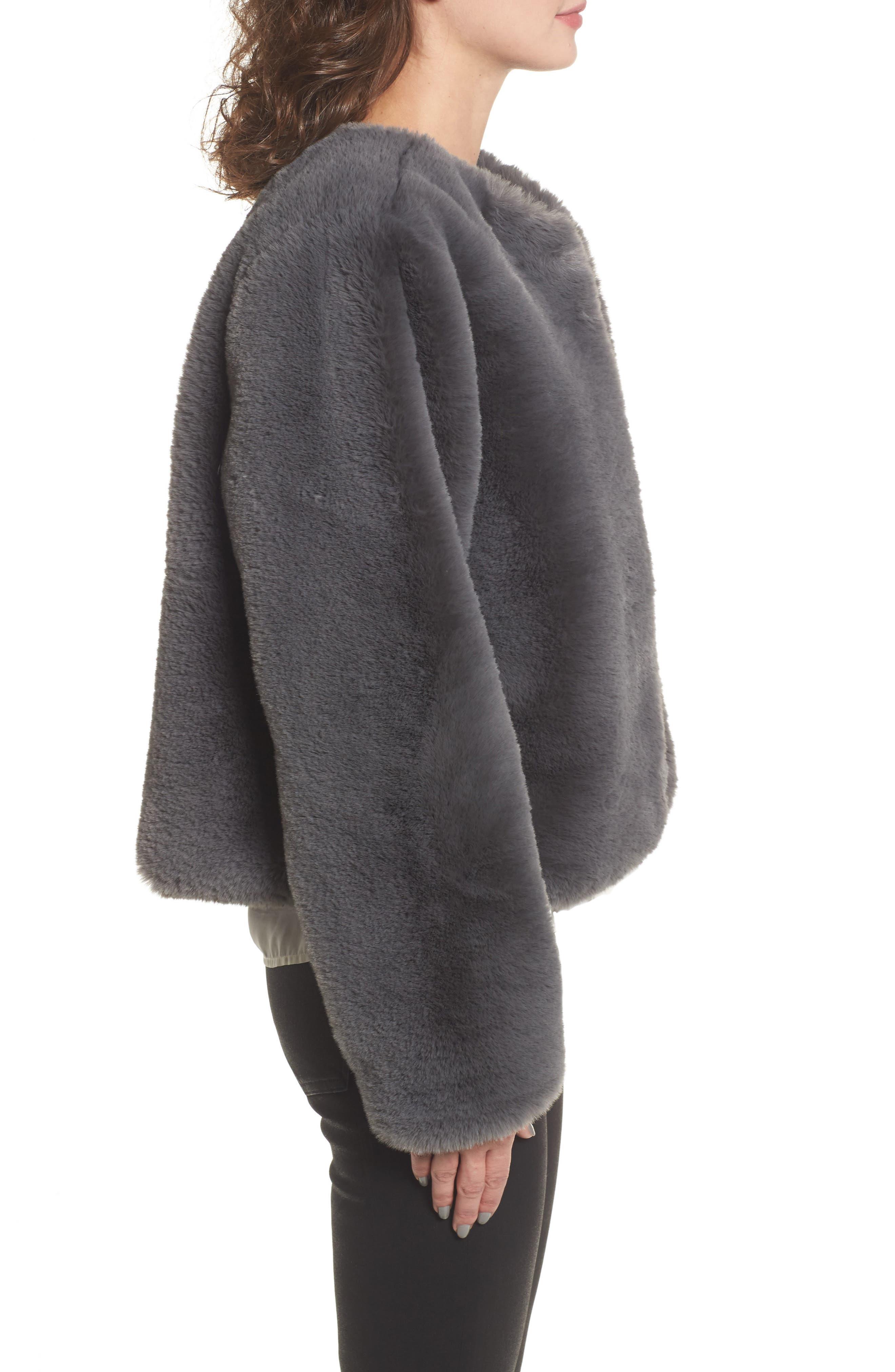 Faux Fur Jacket,                             Alternate thumbnail 3, color,                             Smoke