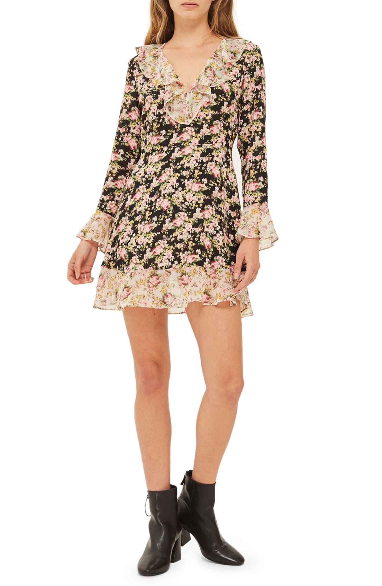 True Romance Ruffle Minidress,                         Main,                         color, Black Multi