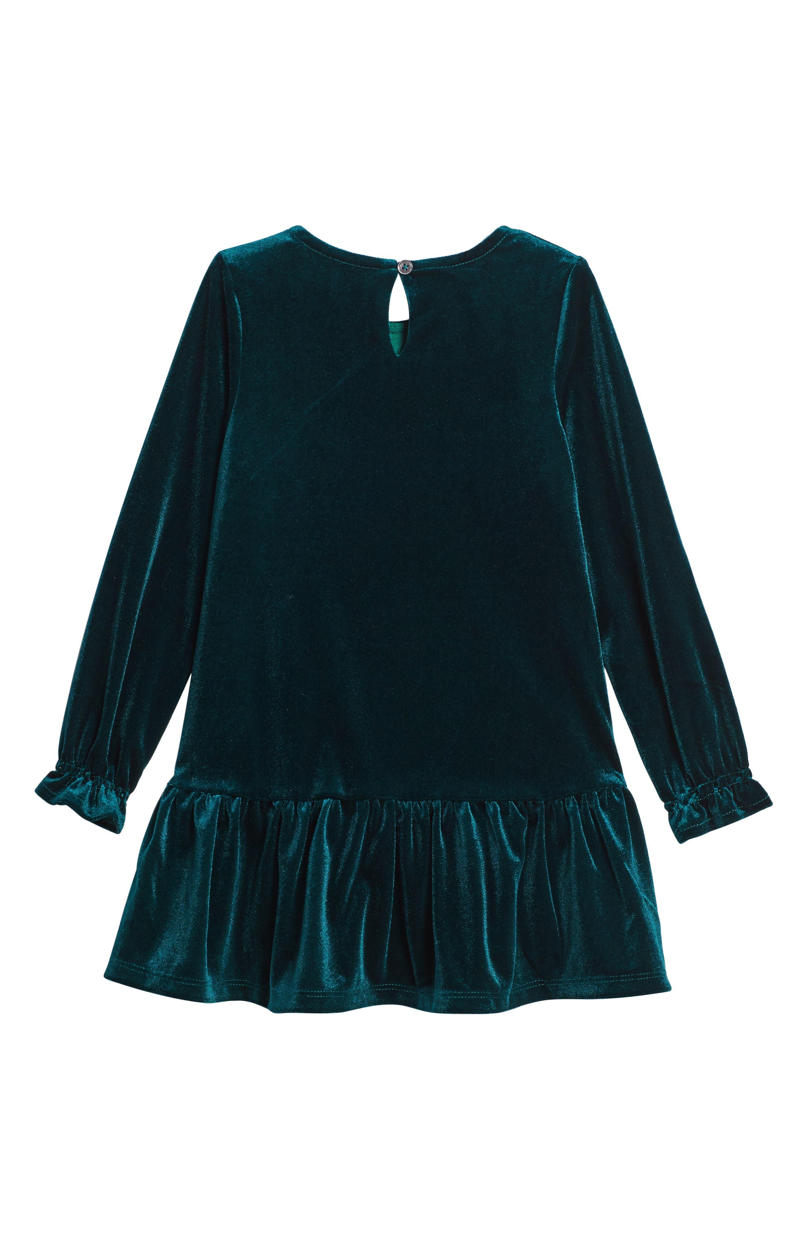 Angelina Velvet Dress,                             Alternate thumbnail 2, color,                             Green