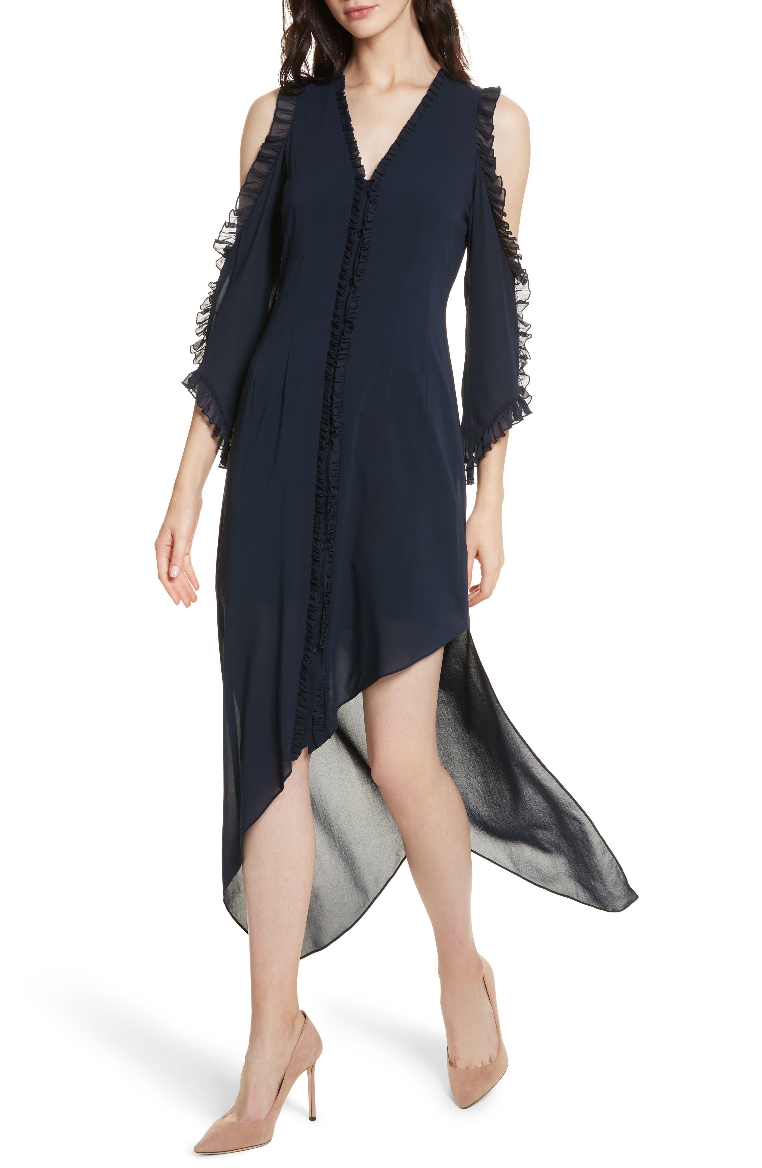 Claudie Ruffle Button-Down Maxi Dress,                             Alternate thumbnail 4, color,                             Sapphire