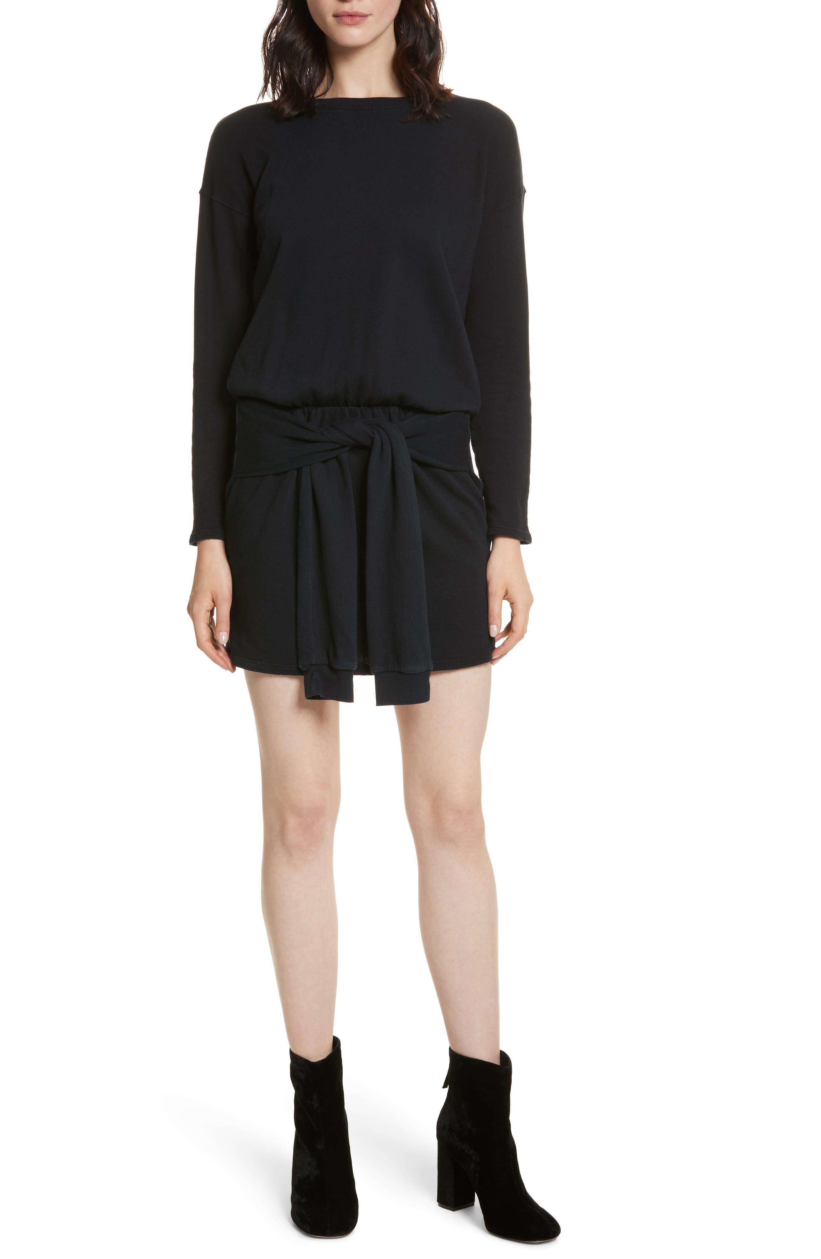 Lucya Tie Waist Cotton Minidress,                         Main,                         color, Caviar