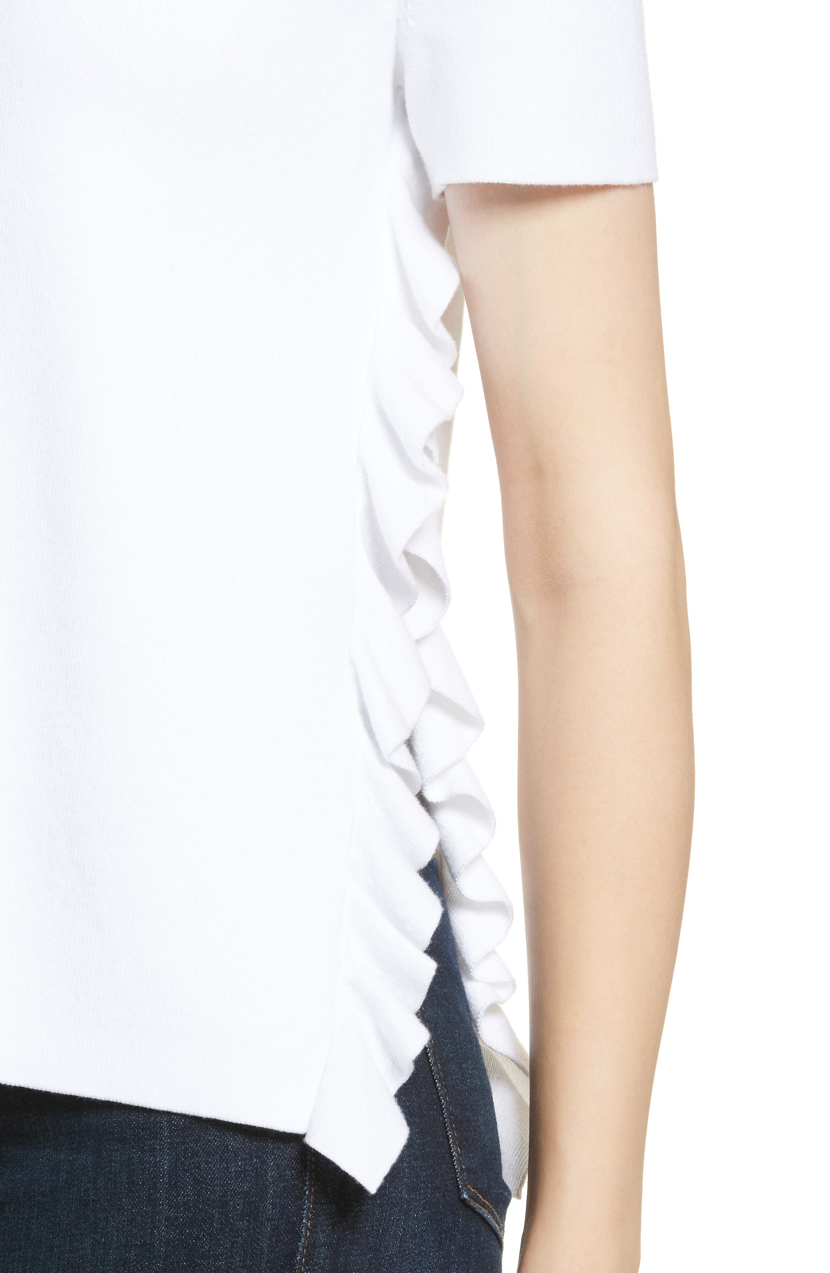 Ivan Ruffle Split Side Sweater,                             Alternate thumbnail 4, color,                             White