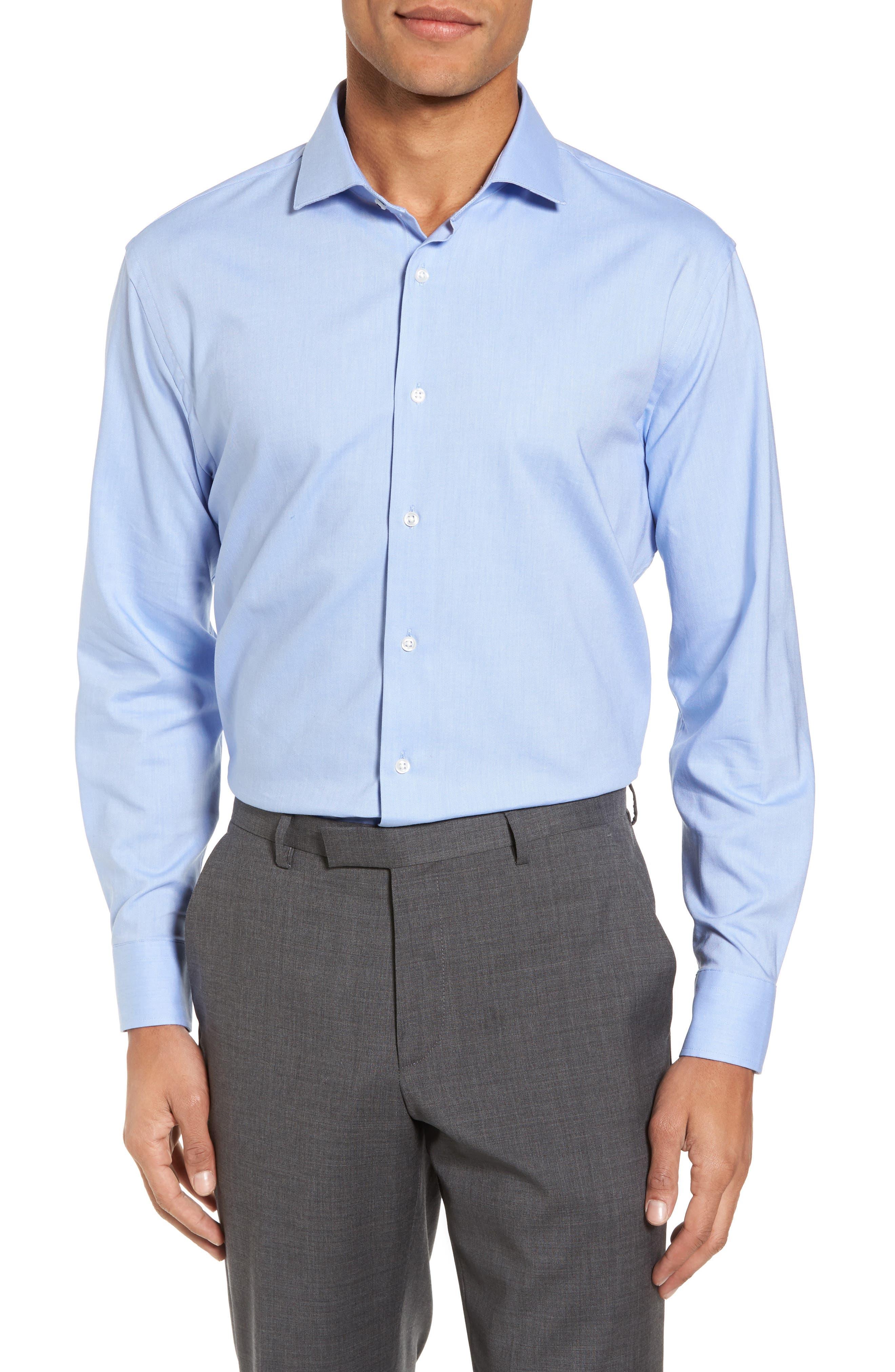 Tech-Smart Trim Fit Stretch Solid Dress Shirt,                         Main,                         color, Blue