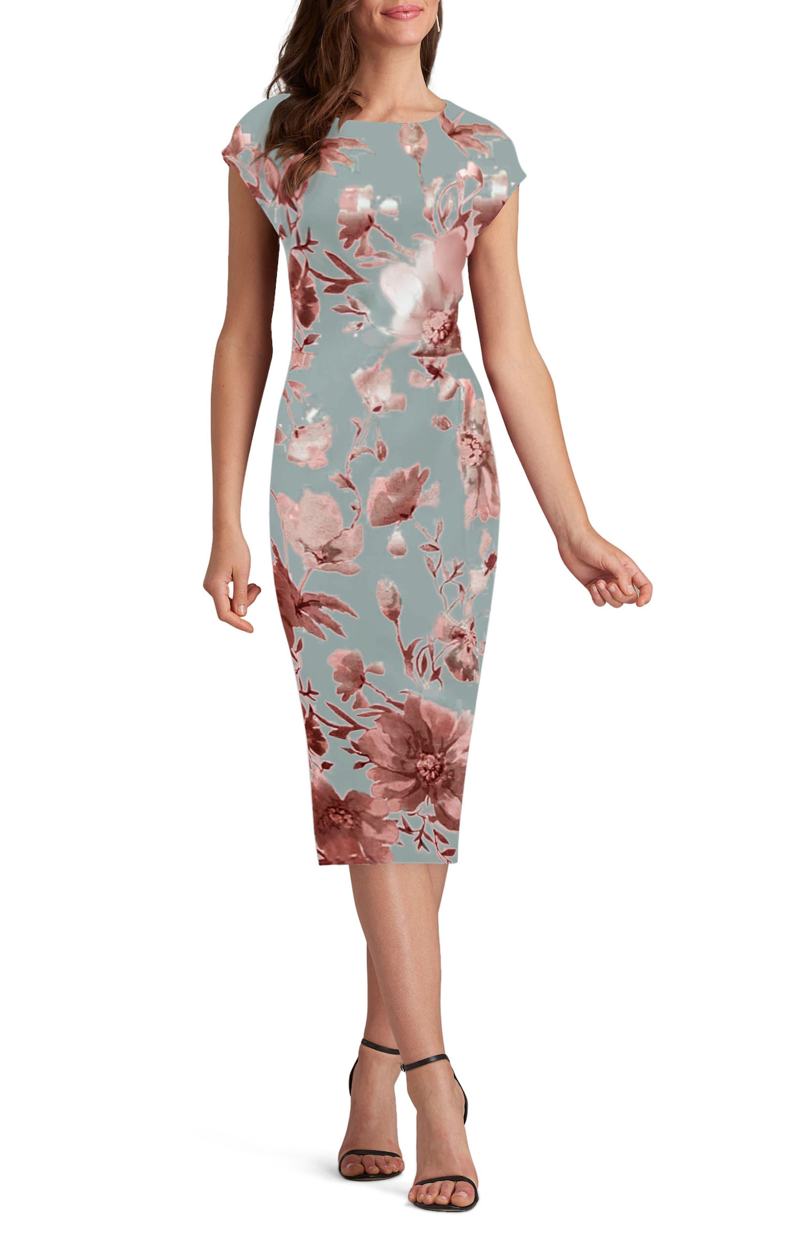 Floral Print Sheath Dress,                         Main,                         color, Silver