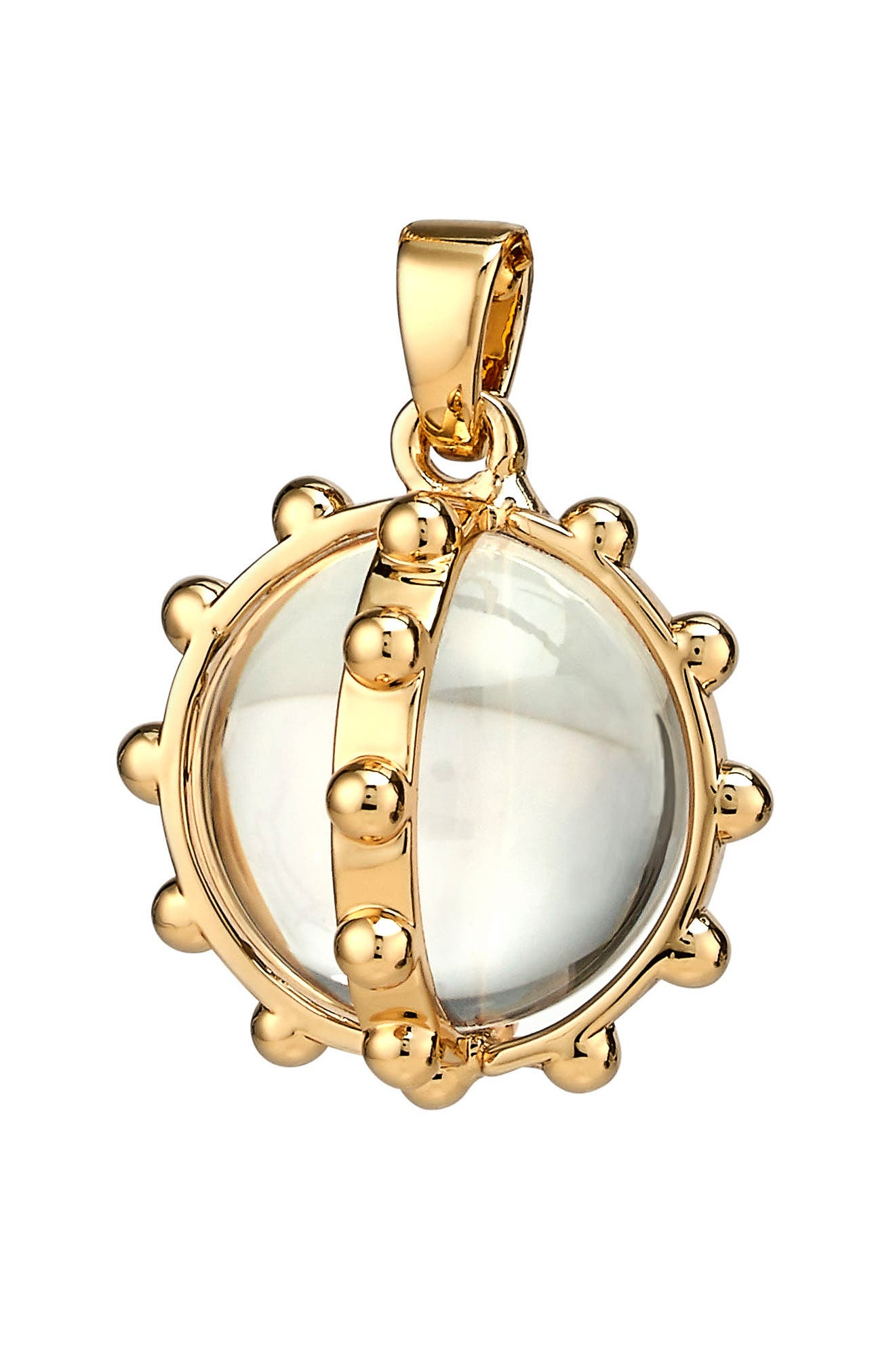 Oxford Mother-of-Pearl Ball Charm,                         Main,                         color, Gold - Rock Crystal