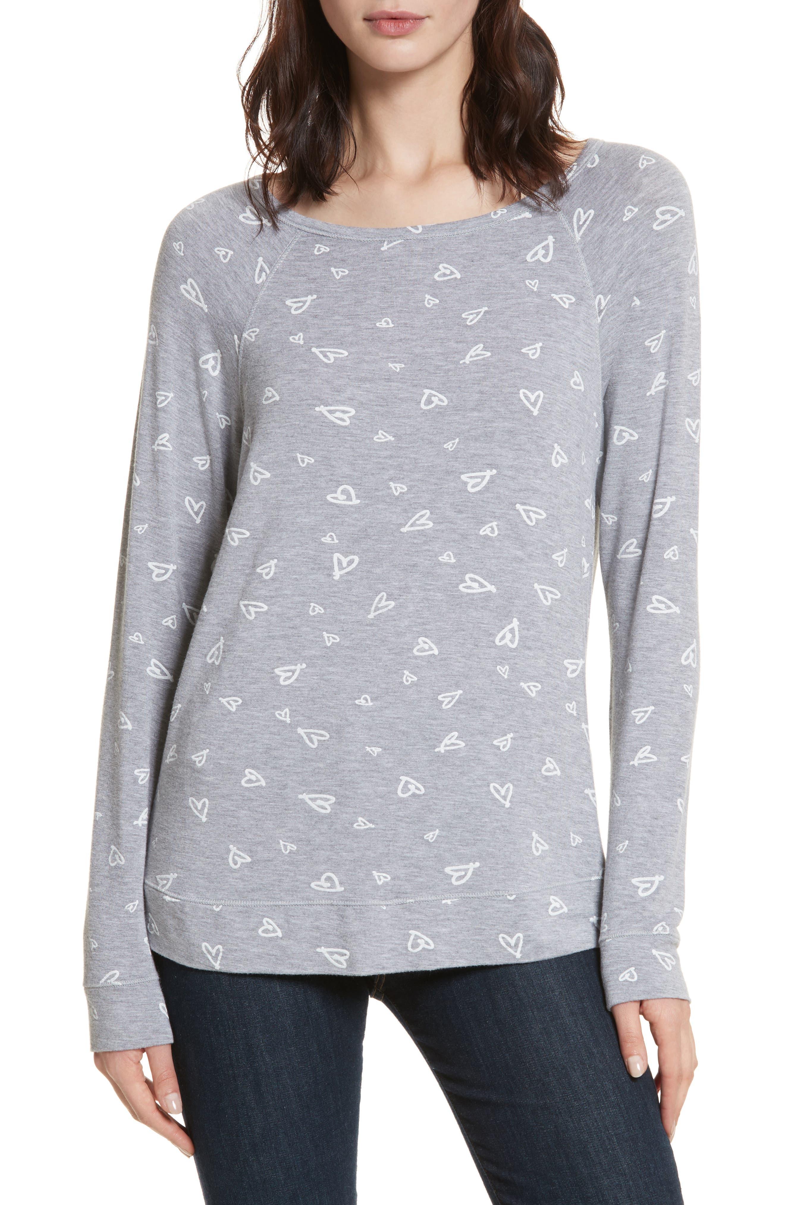 Annora B Print Cotton & Modal Blend Sweatshirt,                         Main,                         color, Heather Grey/ Porcelain
