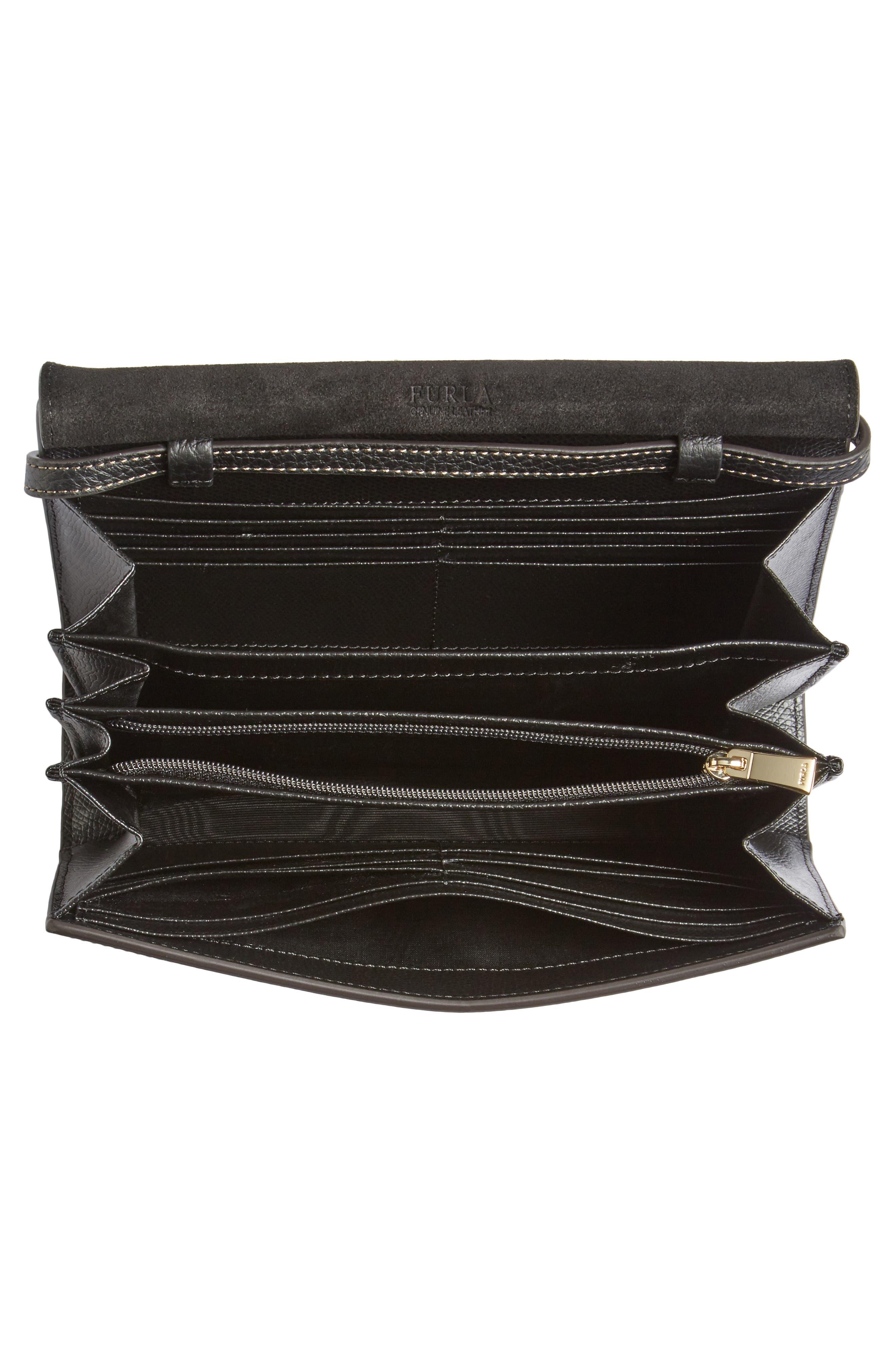 Mini Like Leather Crossbody Bag,                             Alternate thumbnail 4, color,                             Onyx