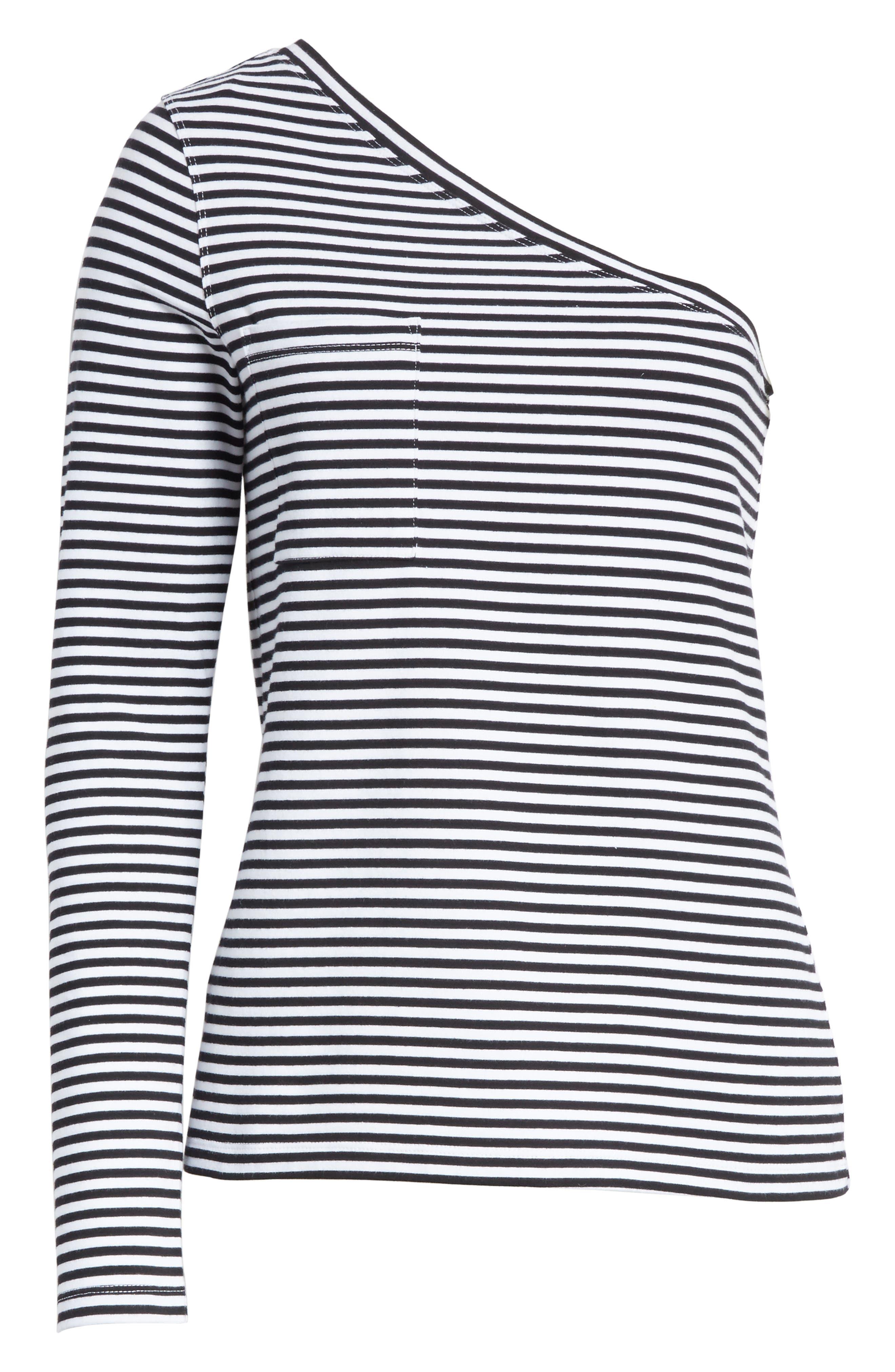One ShoulderStripe Tee,                             Alternate thumbnail 6, color,                             Black Stripe