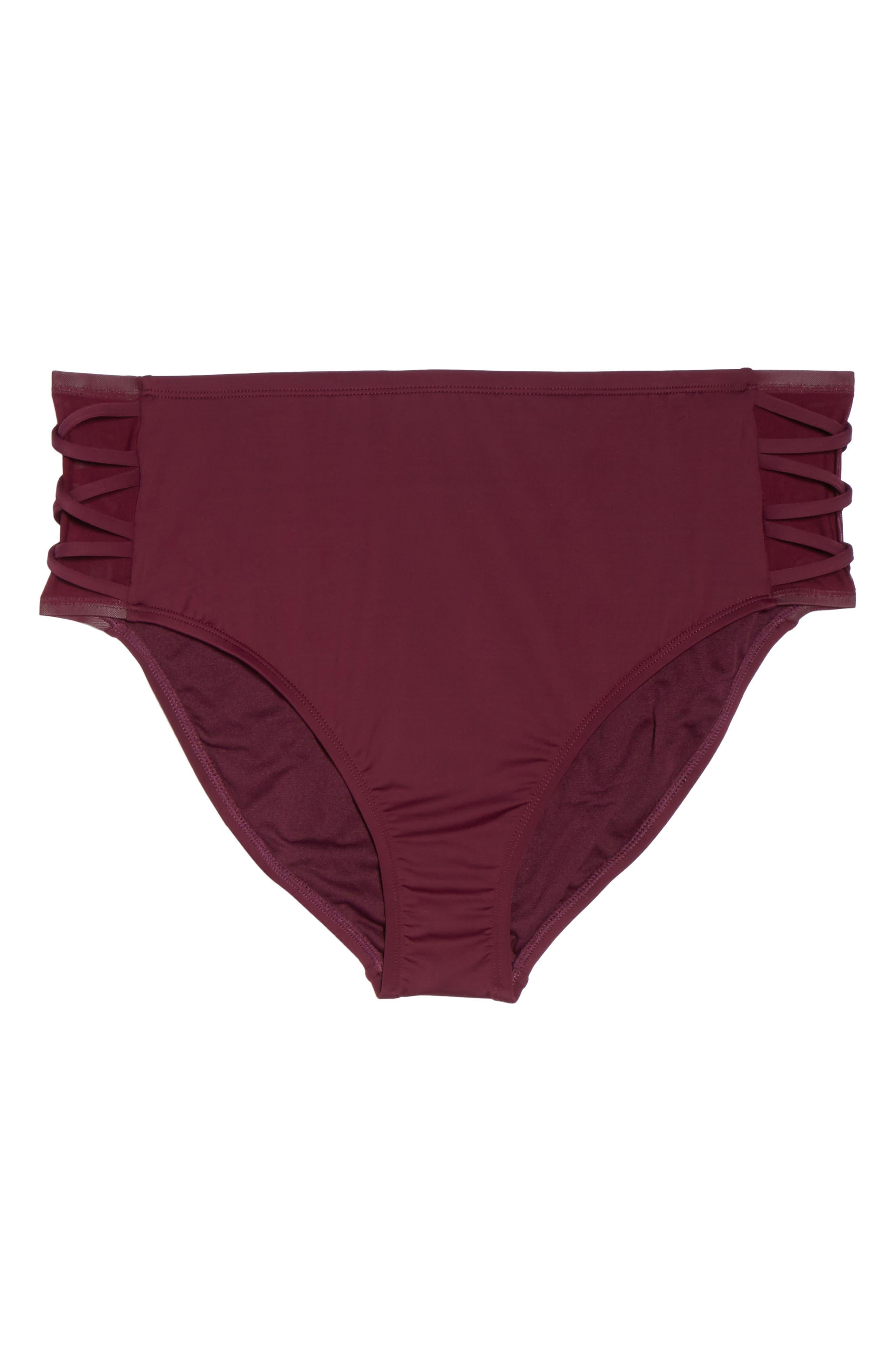 High Waist Bikini Bottoms,                             Alternate thumbnail 6, color,                             Burgundy