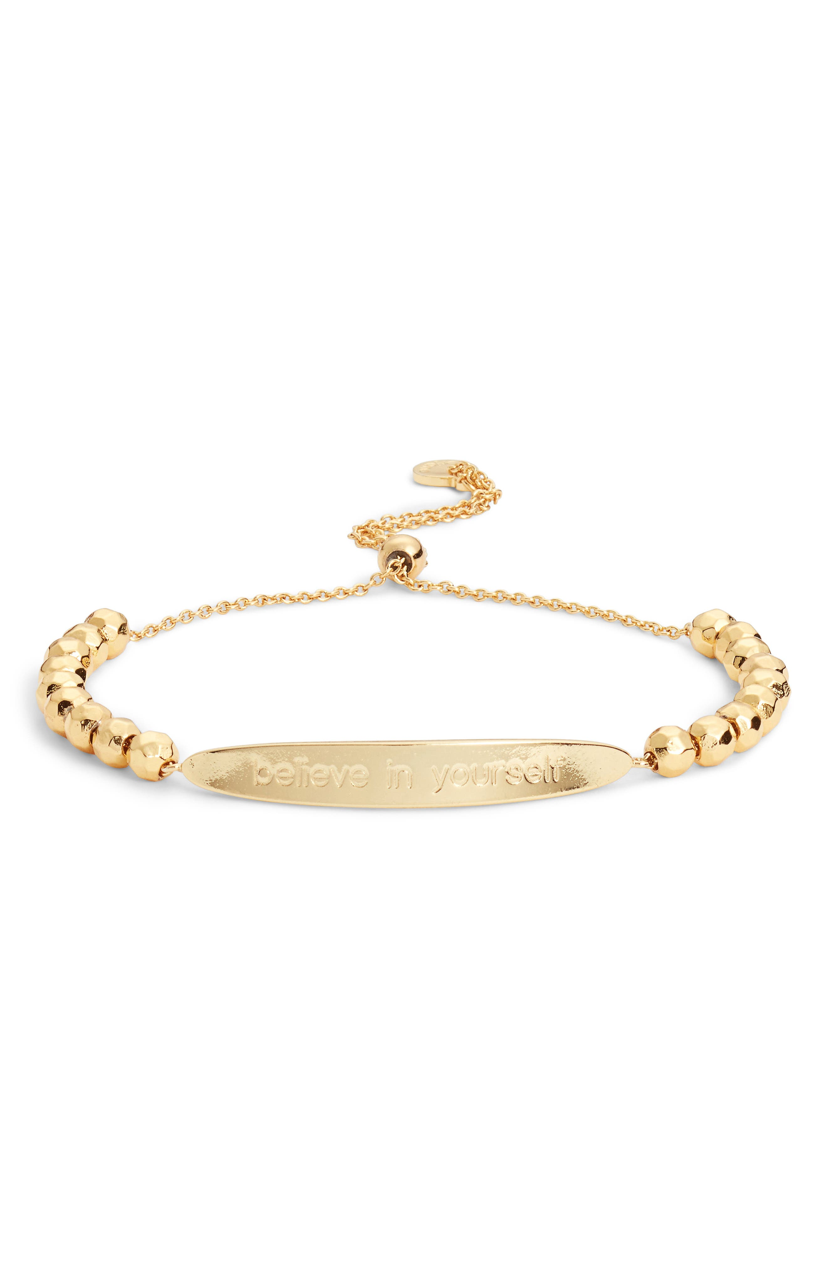 Power Intention Believe in Yourself Bracelet,                         Main,                         color, Gold