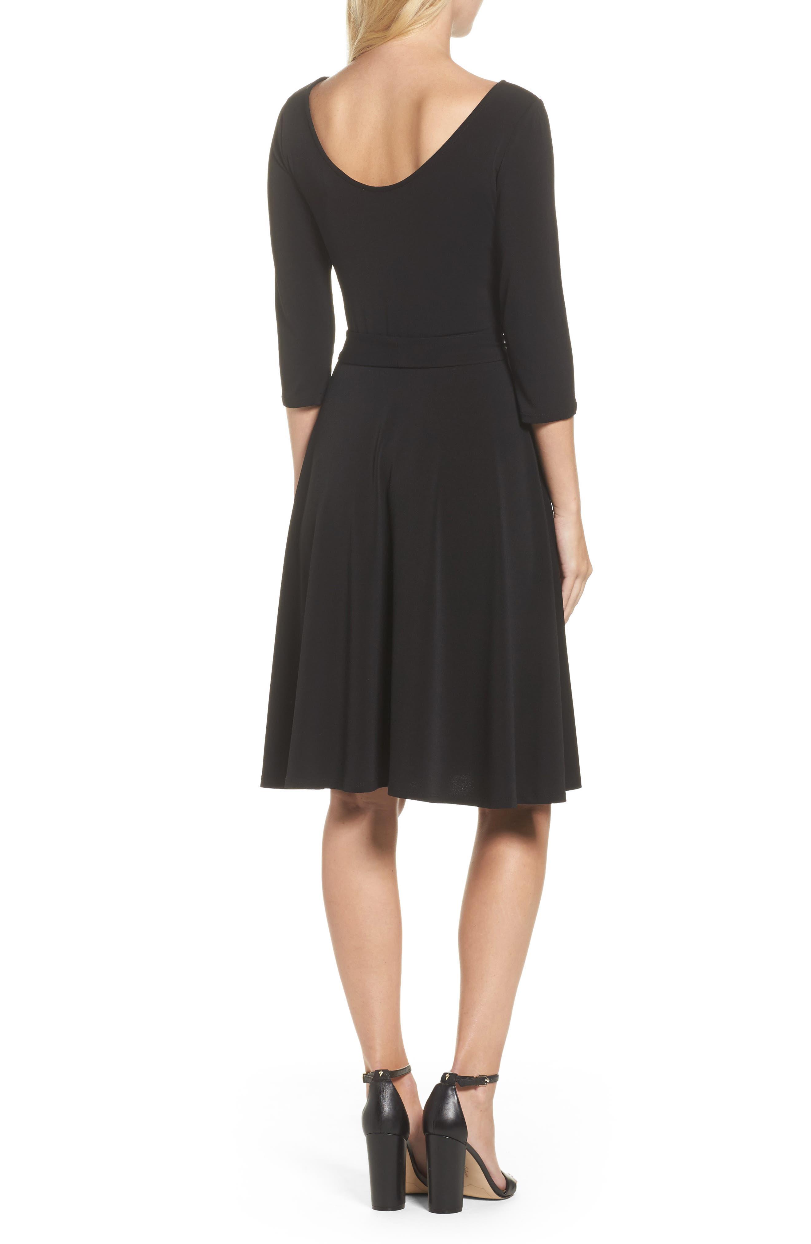 Belted Print Jersey A-Line Dress,                             Alternate thumbnail 2, color,                             Black Crepe